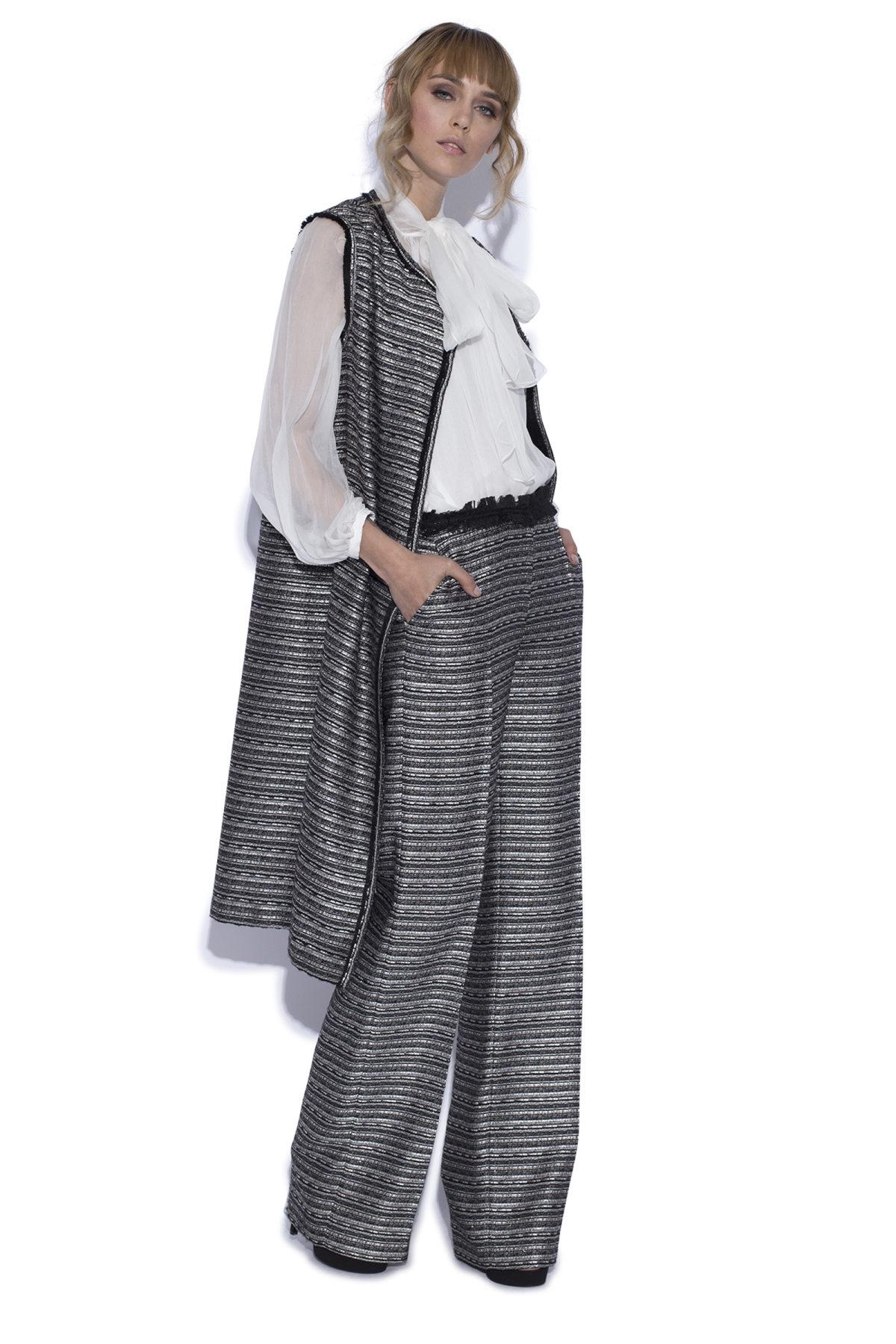 Pantaloni drepti cu fir metalic Alb Negru