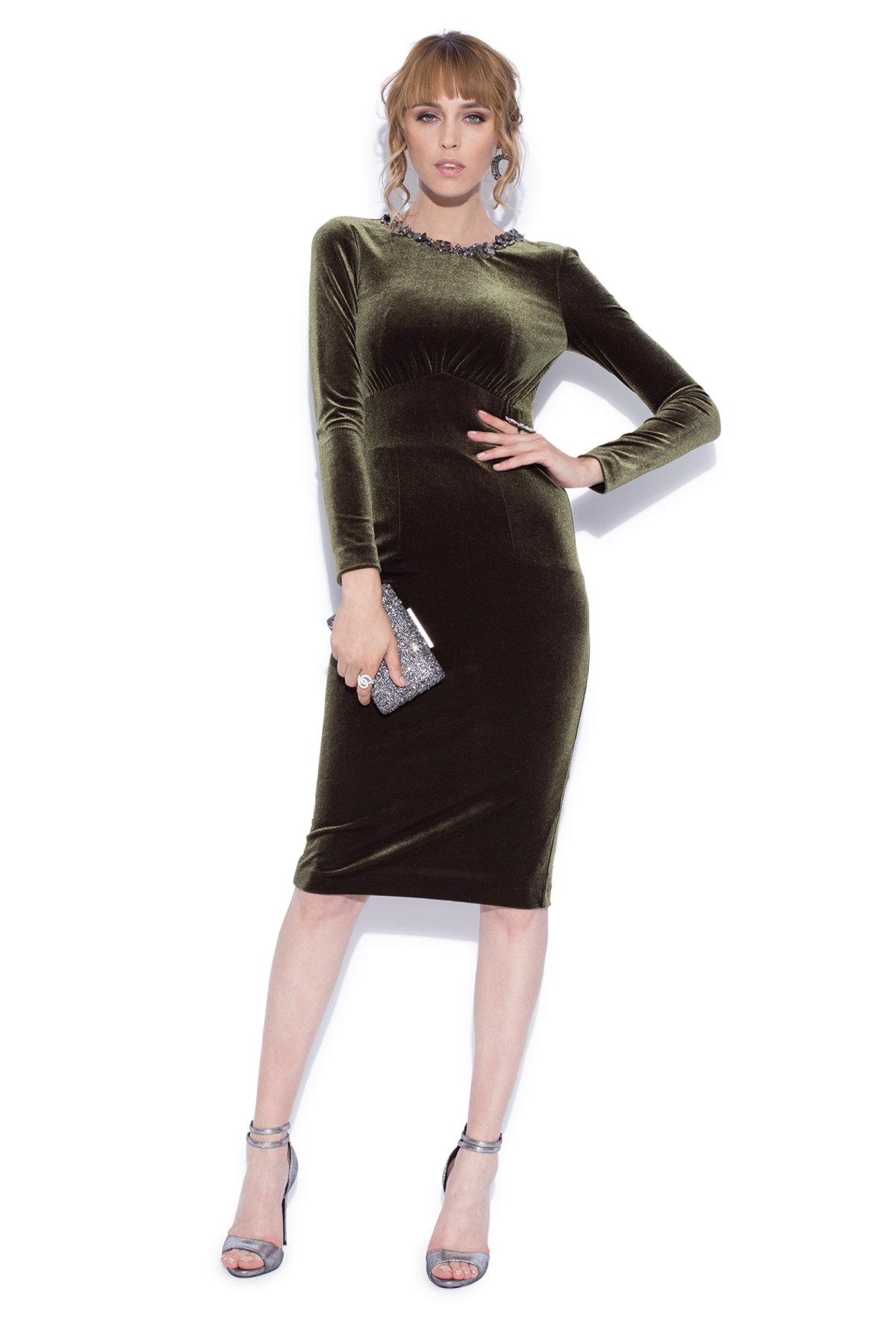 Rochie midi cu aplicatii cusute manual Kaki