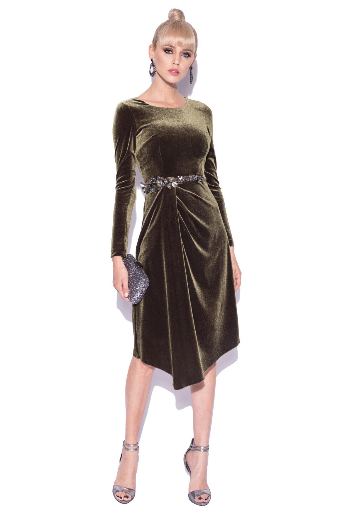 Rochie din catifea cu detalii elegante in talie Kaki