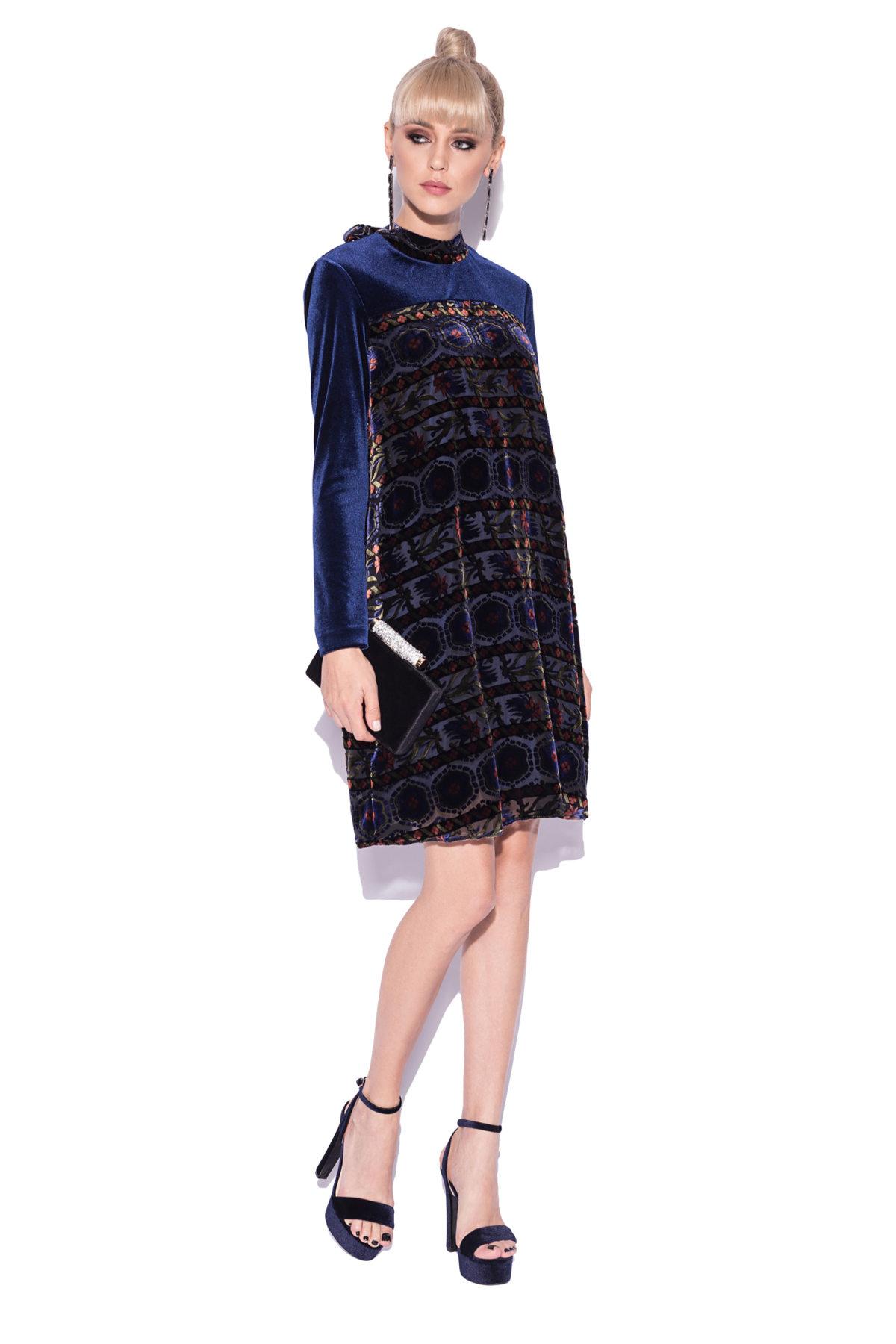 Rochie din catifea cu imprimeu abstract Bleumarin