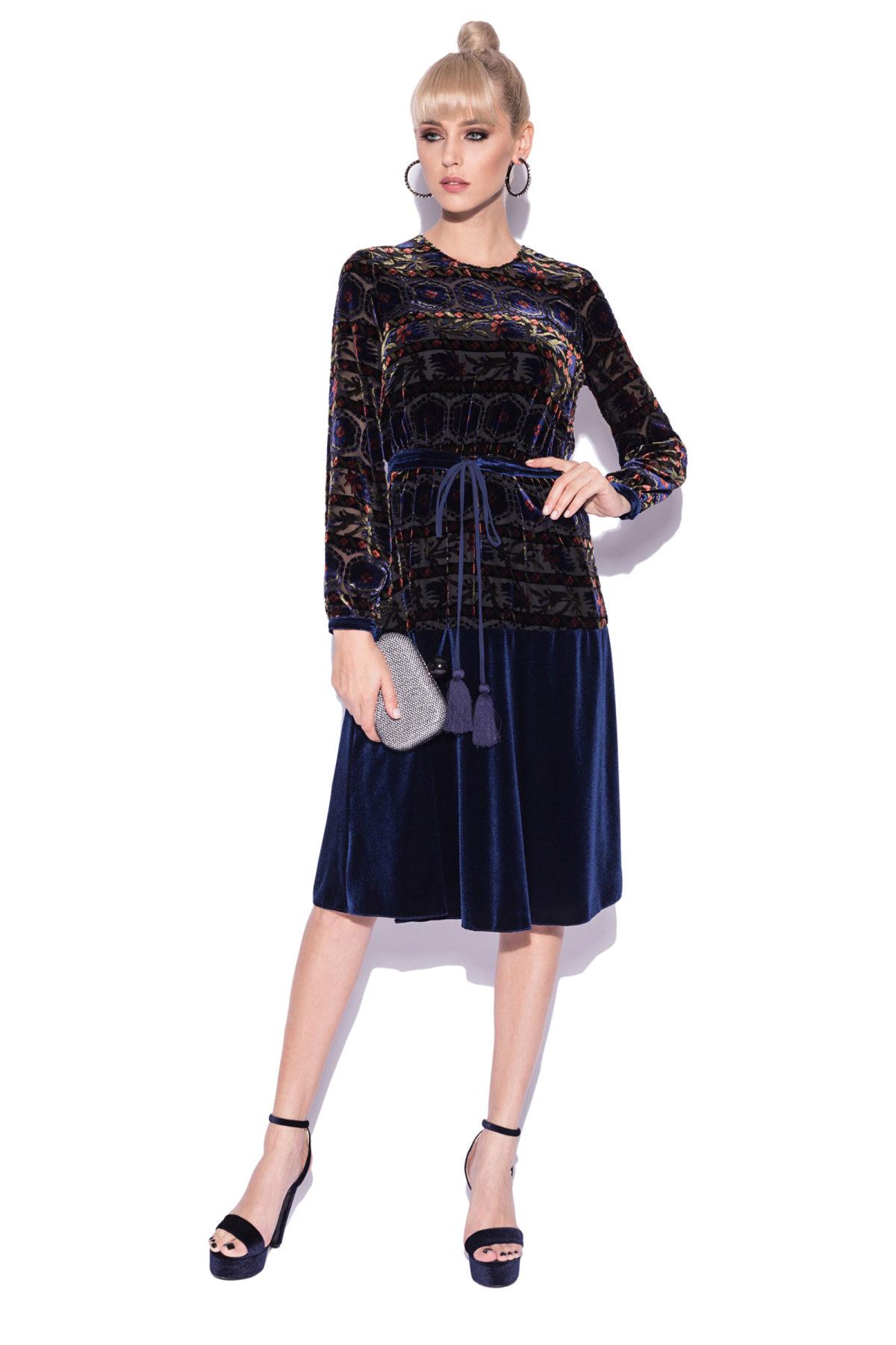 Rochie cu imprimeu abstract si cordon in talie Bleumarin