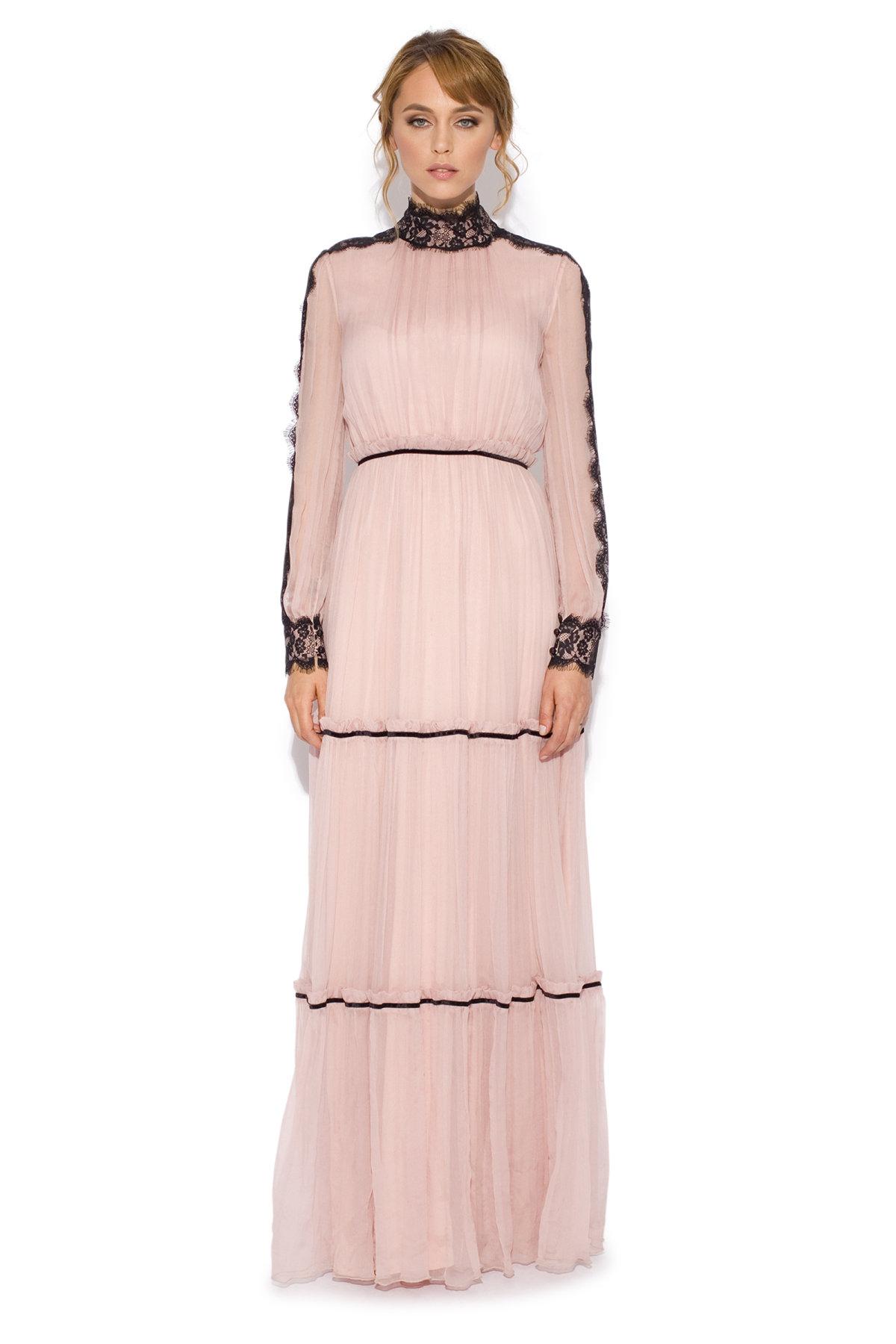 Rochie lunga cu insertii din dantela Roz