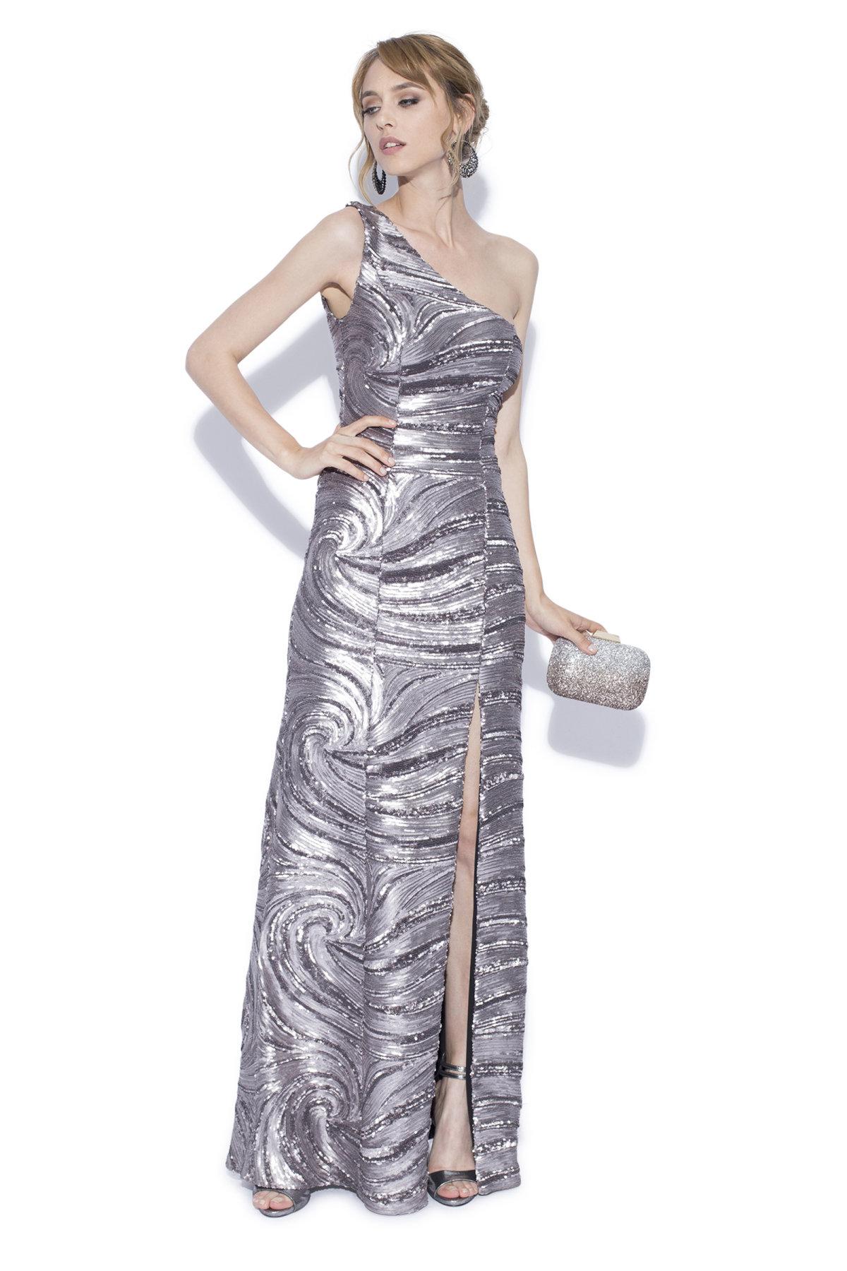 Rochie lunga argintie Argintiu