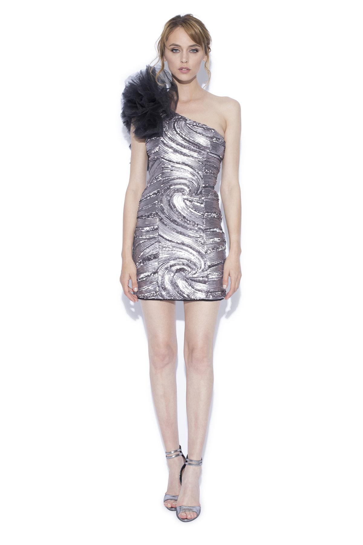 Rochie mini argintie cu detaliu din tulle pe umar Argintiu