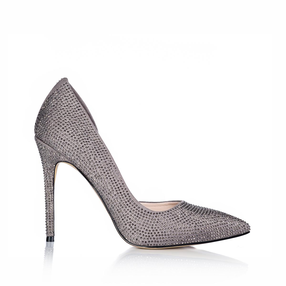 Pantofi stiletto cu aplicatii stralucitoare Gri