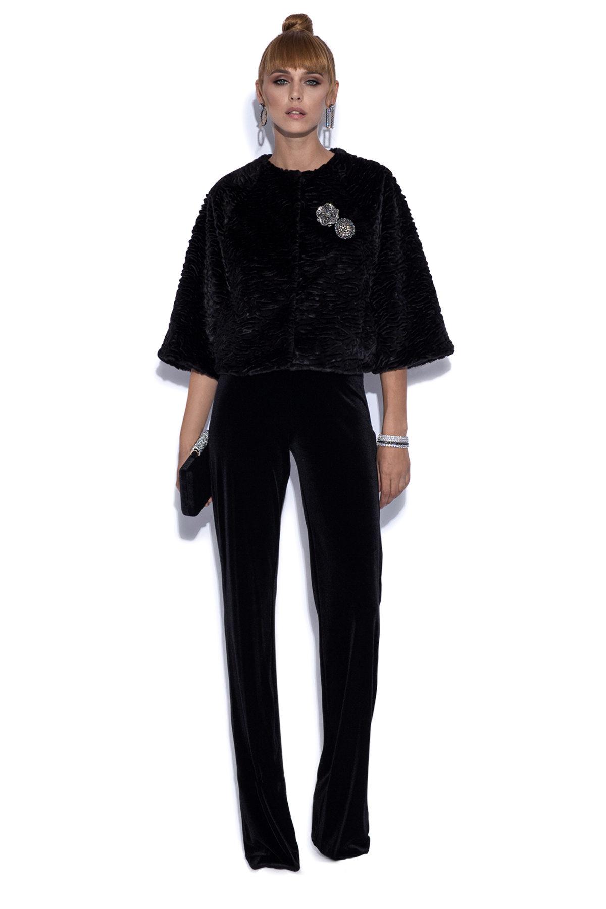 Jacheta din blana ecologica Negru