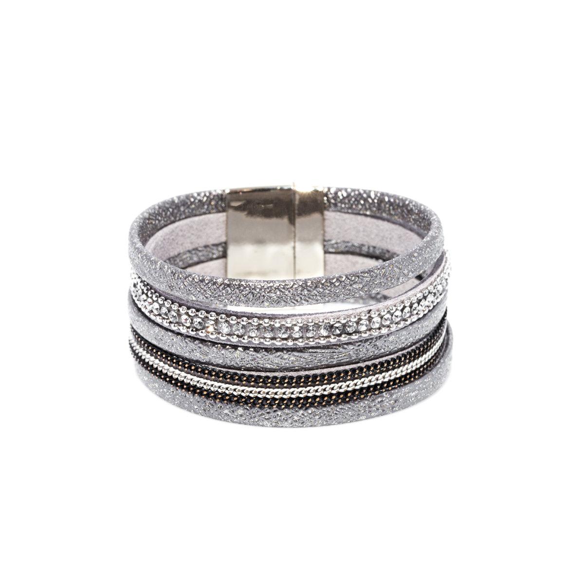 Bratara din material cu efect shiny Argintiu