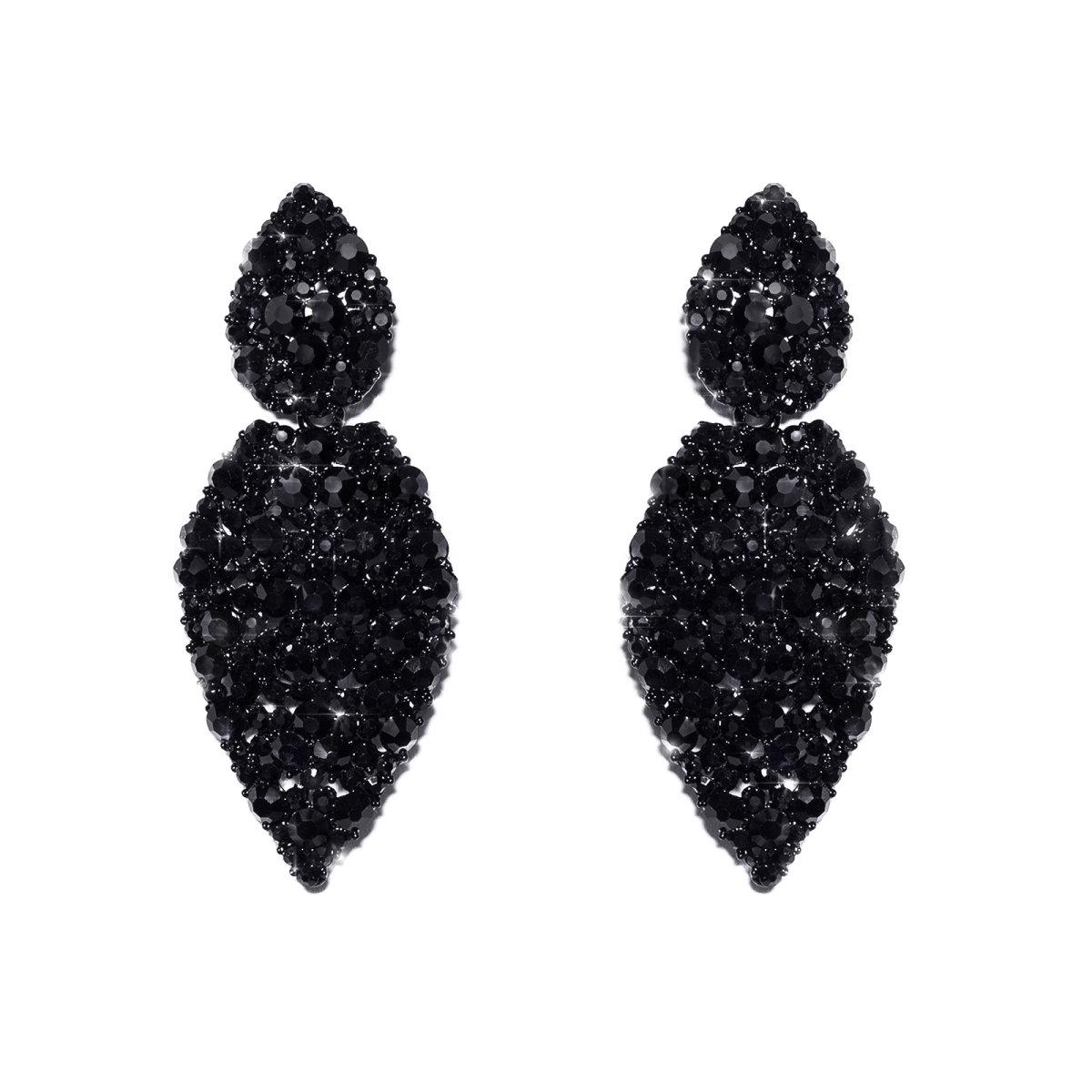 Cercei eleganti cu pietre negre Negru