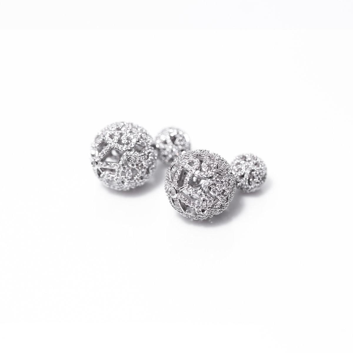 Cercei eleganti cu cristale de zirconiu cubic Argintiu