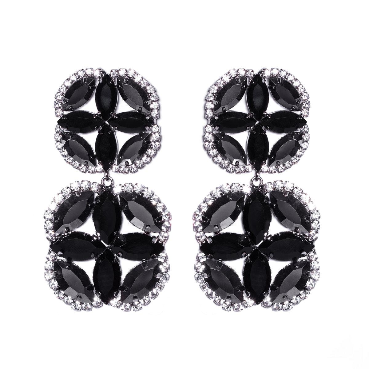 Cercei maxi cu cristale de sticla Negru