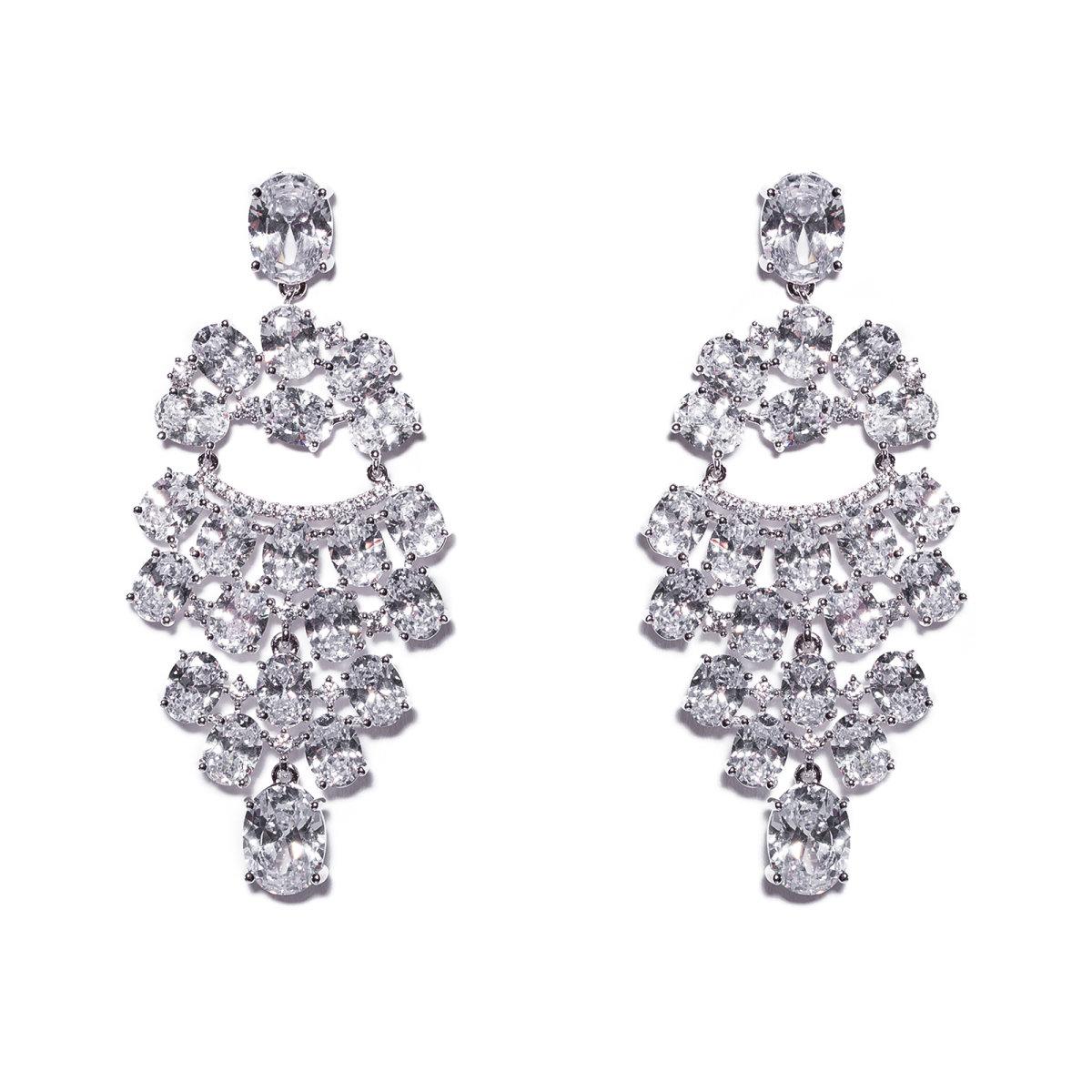 Cercei stralucitori cu cristale de zirconiu Argintiu
