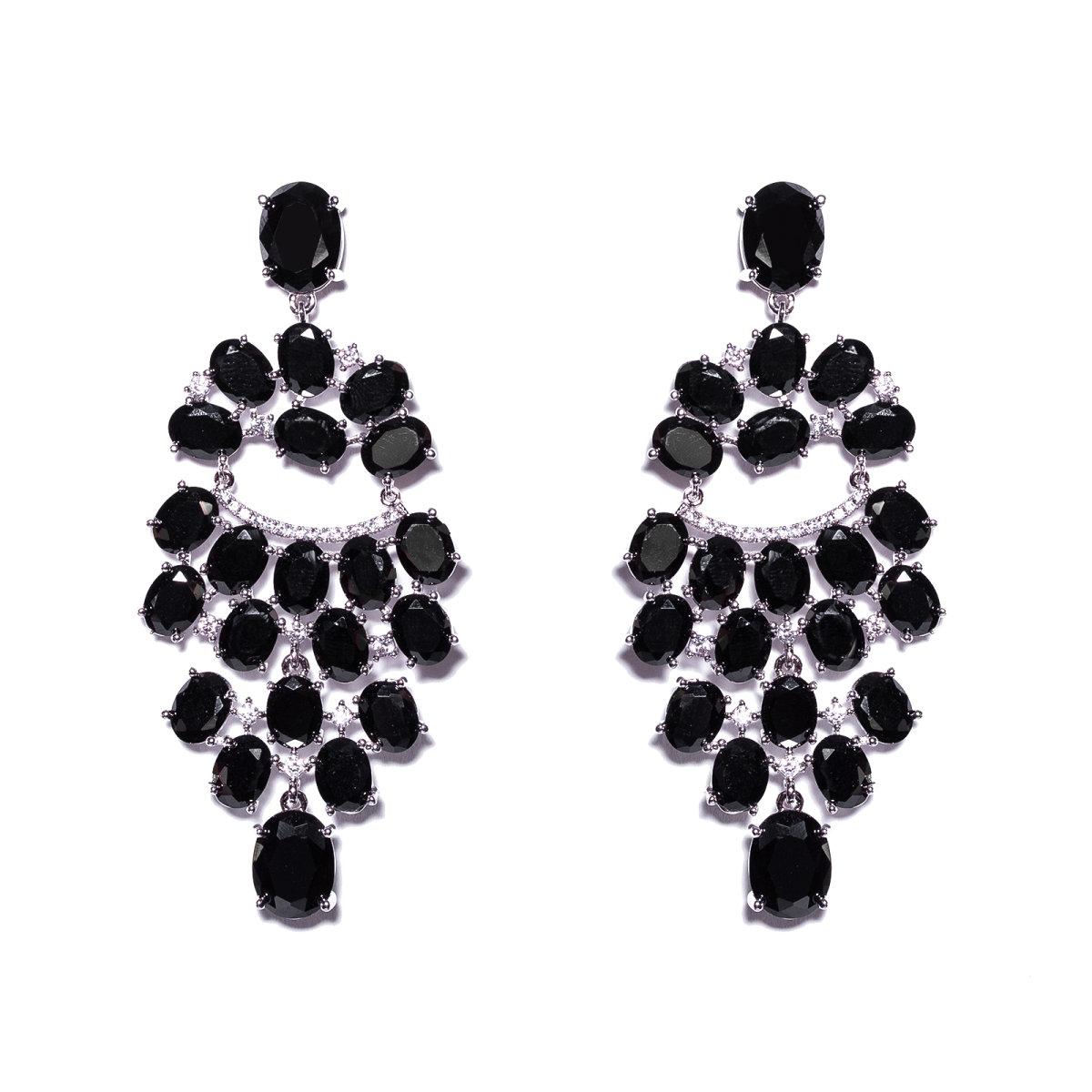Cercei stralucitori cu cristale de zirconiu cubic Negru