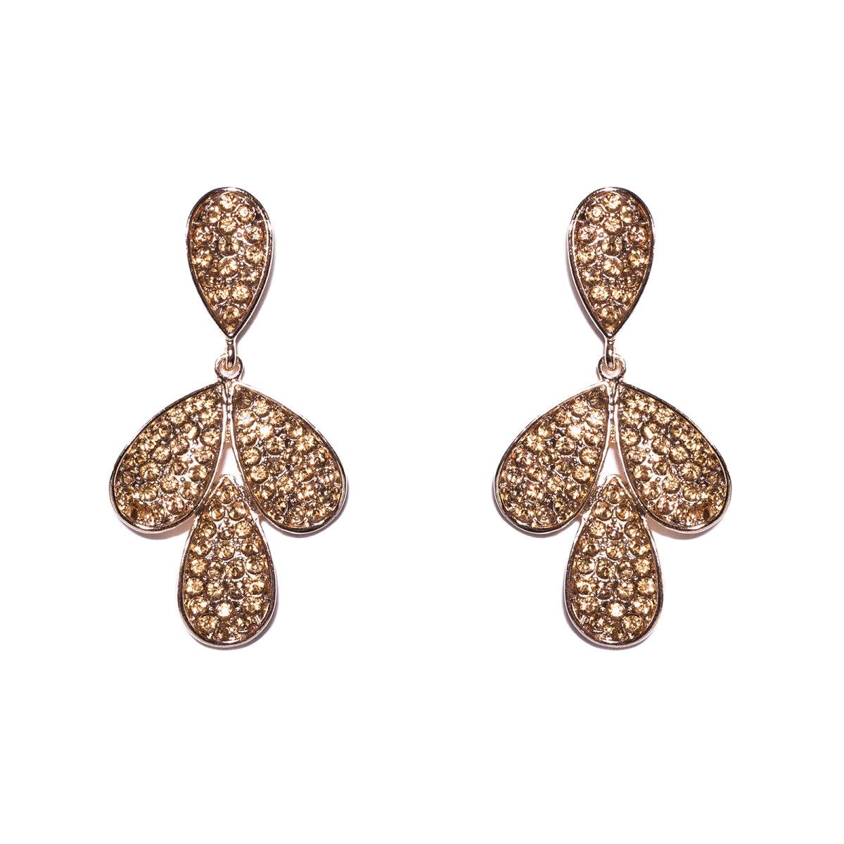 Cercei aurii metalici cu cristale de sticla Auriu