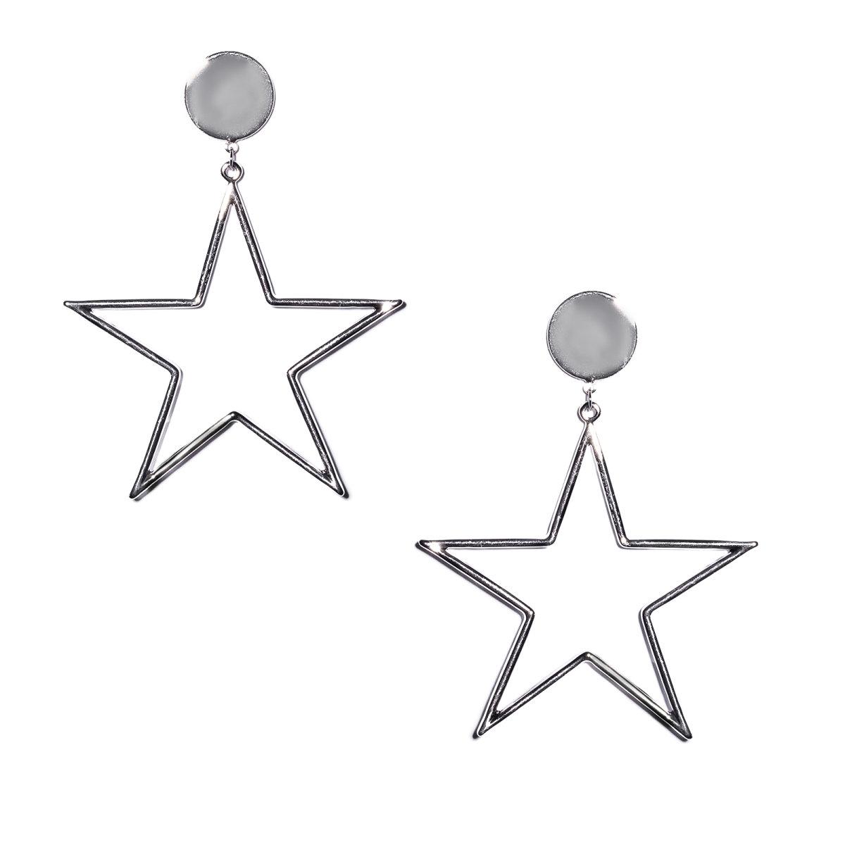 Cercei metalici in forma de stea Argintiu