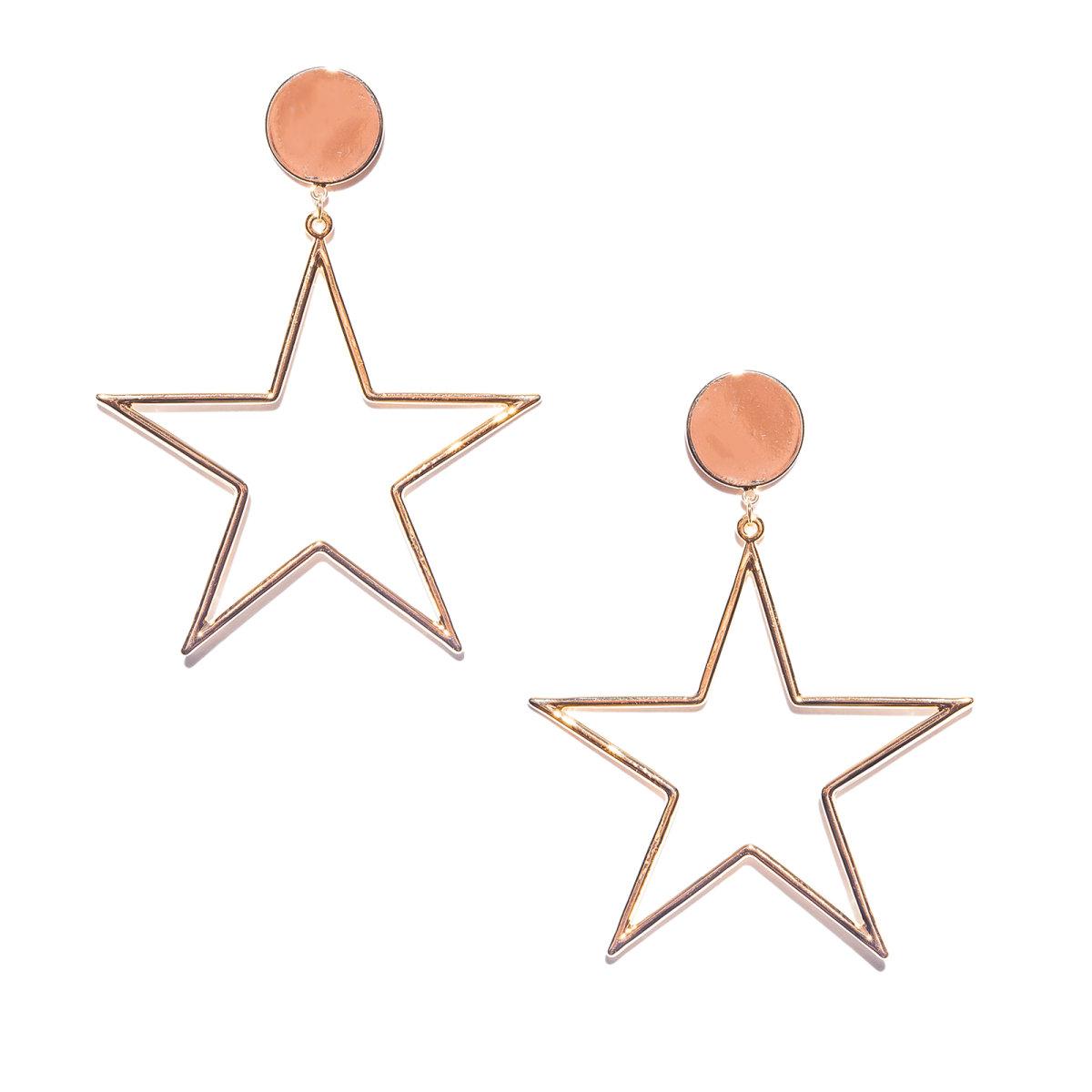 Cercei metalici in forma de stea Auriu