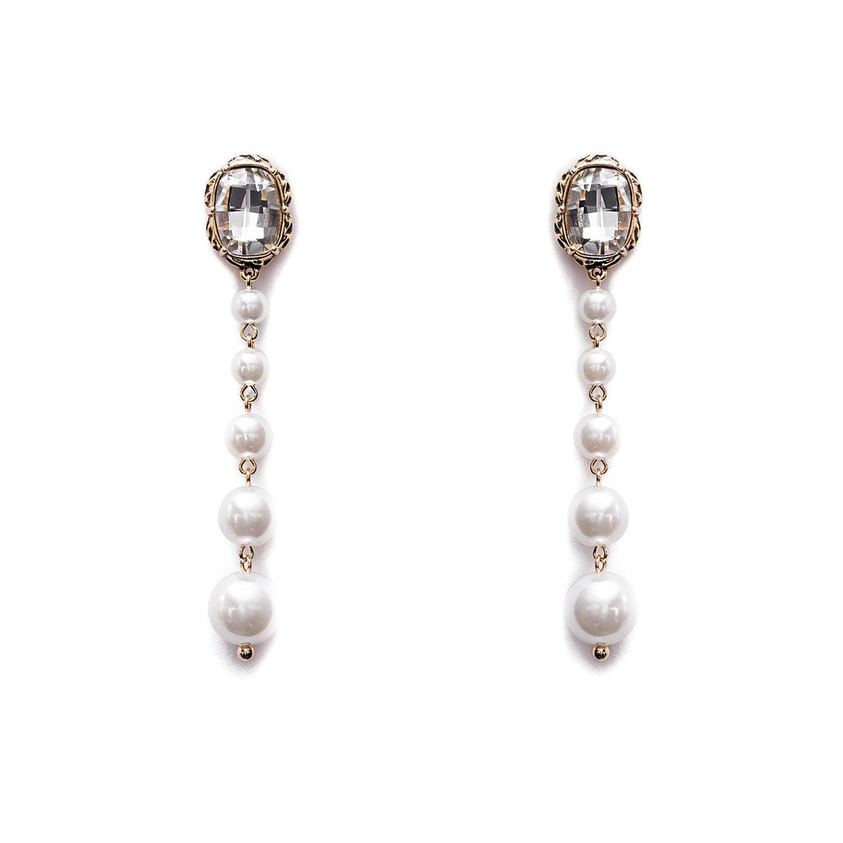 Cercei lungi cu aplicatii tip perle Auriu