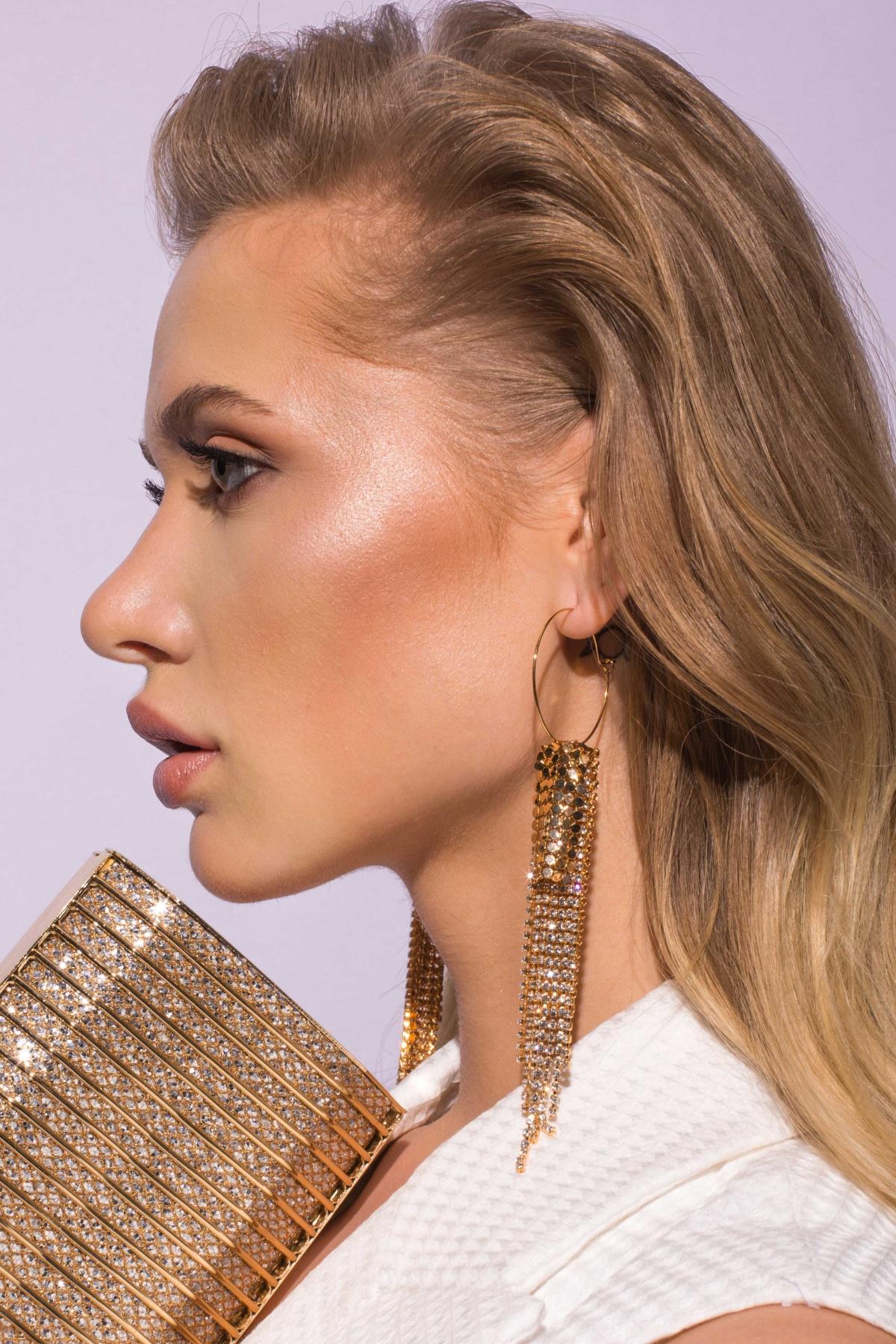 Cercei eleganti cu detalii metalice Auriu