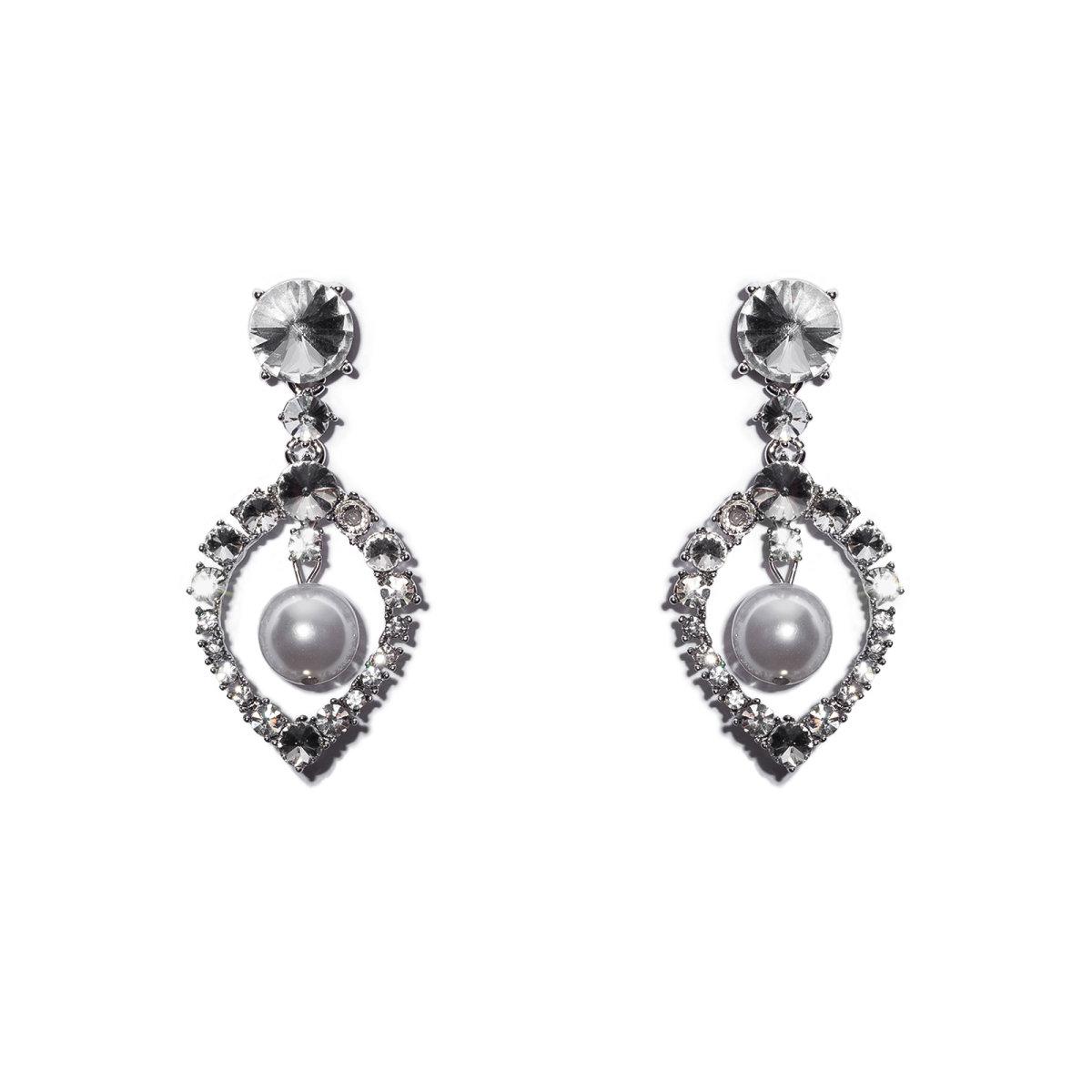 Cercei cu cristale de sticla si aplicatii tip perle Argintiu