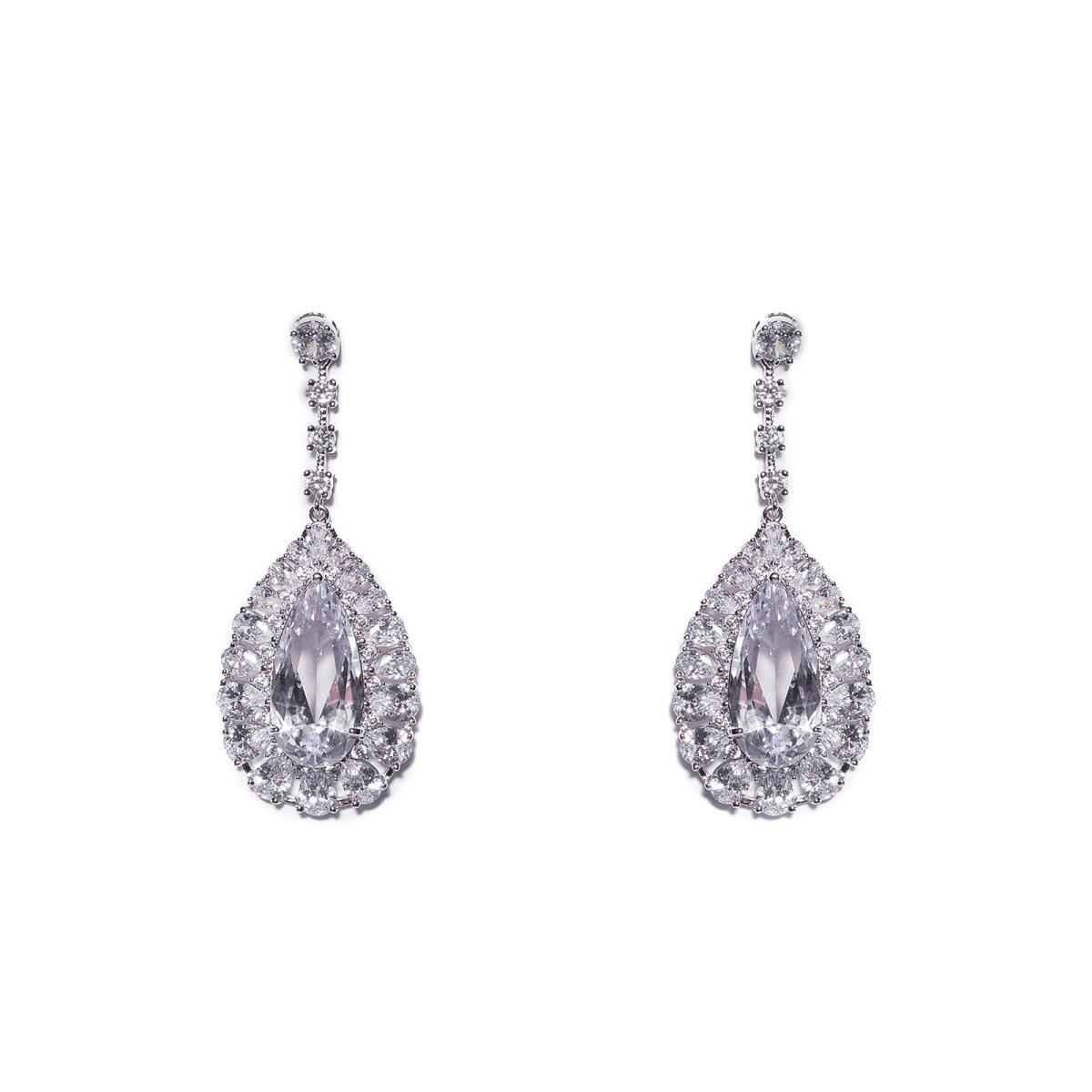 Cercei argintii cu cristale de zirconiu cubic Argintiu