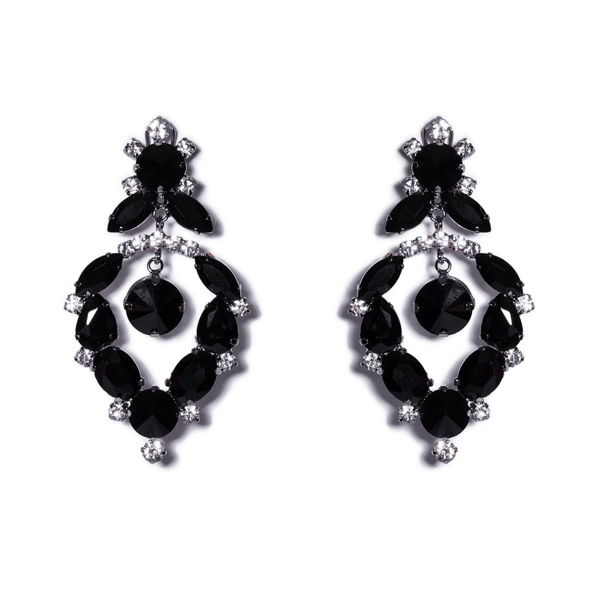 Cercei eleganti cu cristale negre de sticla Negru