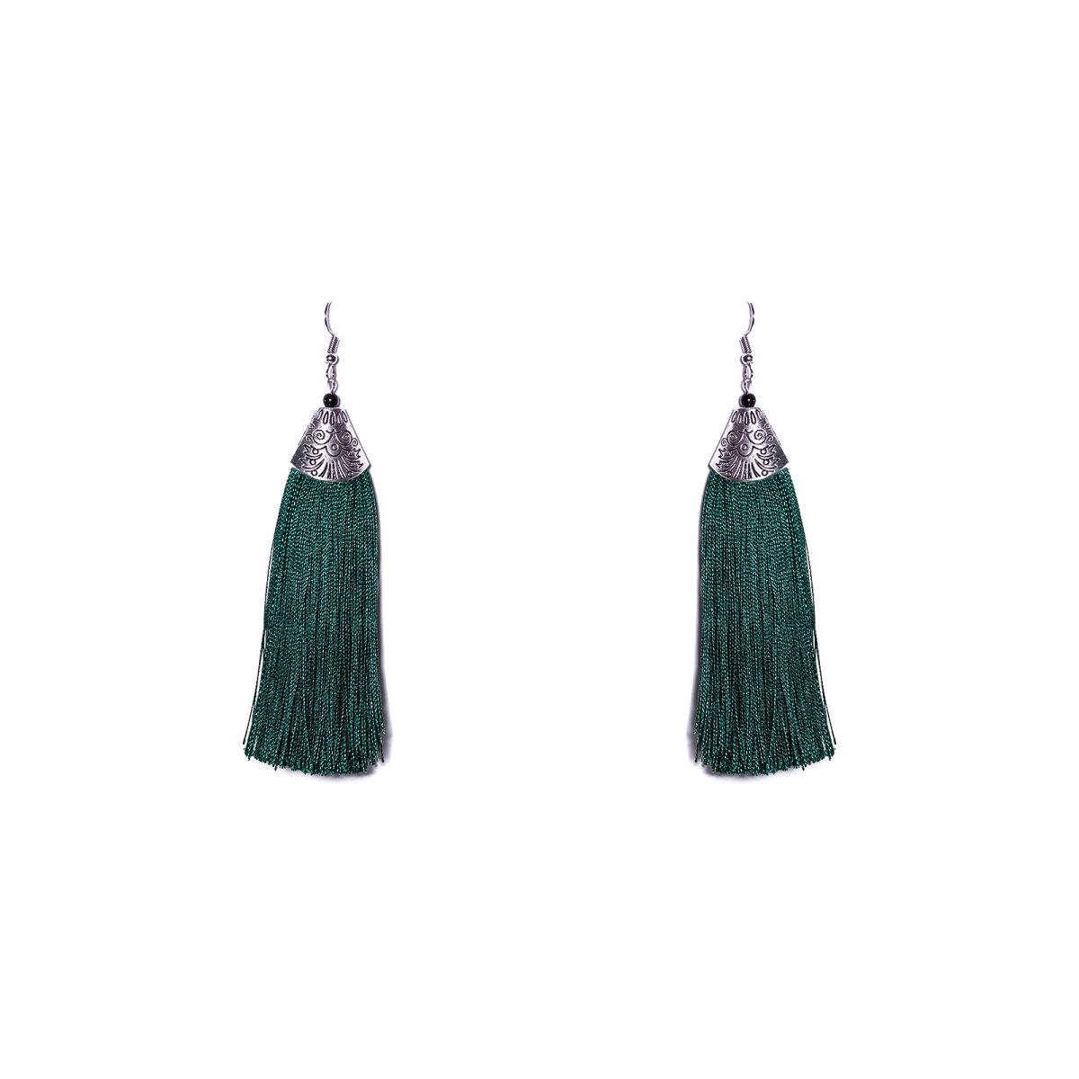 Cercei eleganti cu franjuri Verde