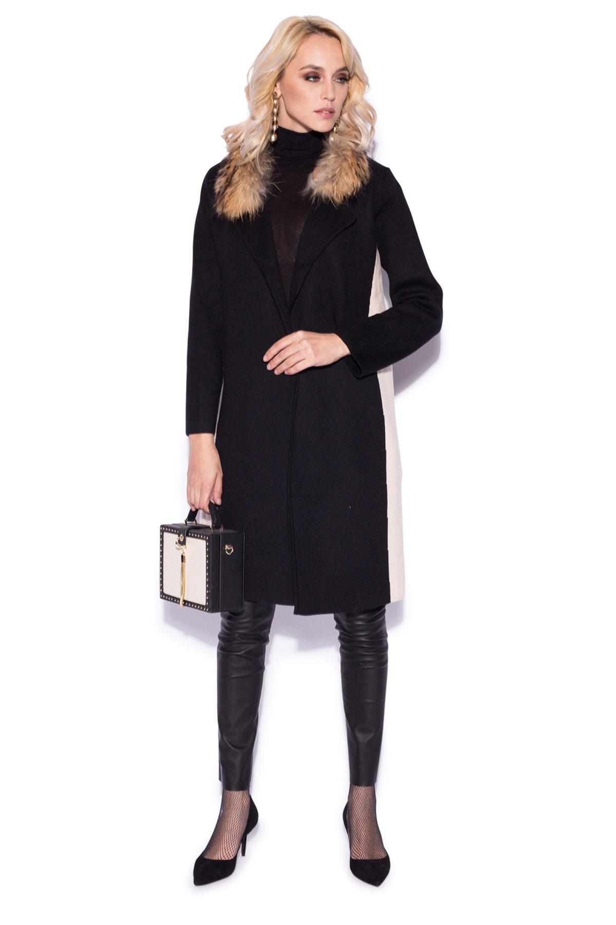 Cardigan in culori contrastante si detaliu din blana naturala Negru