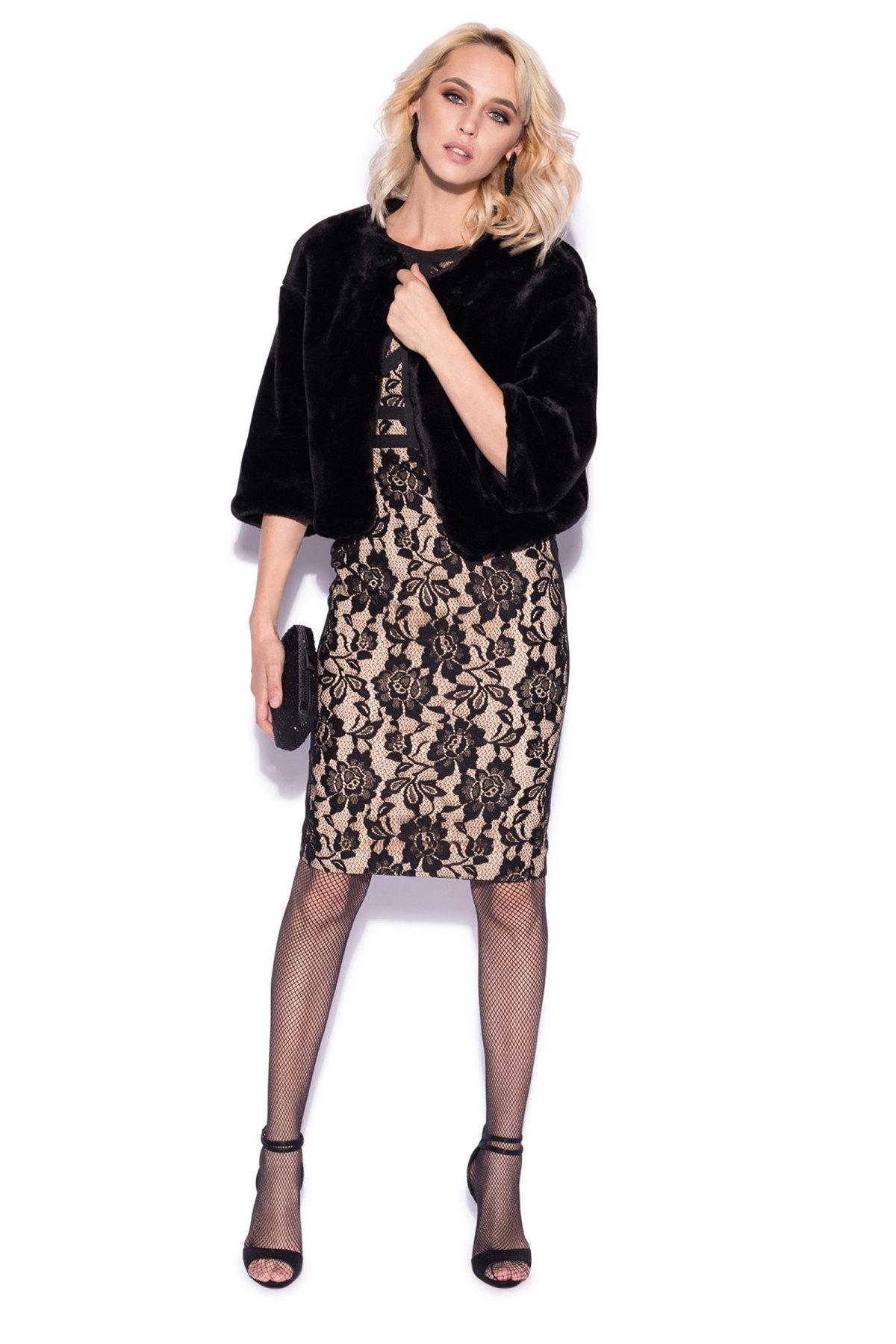 Jacheta eleganta din blana ecologica Negru