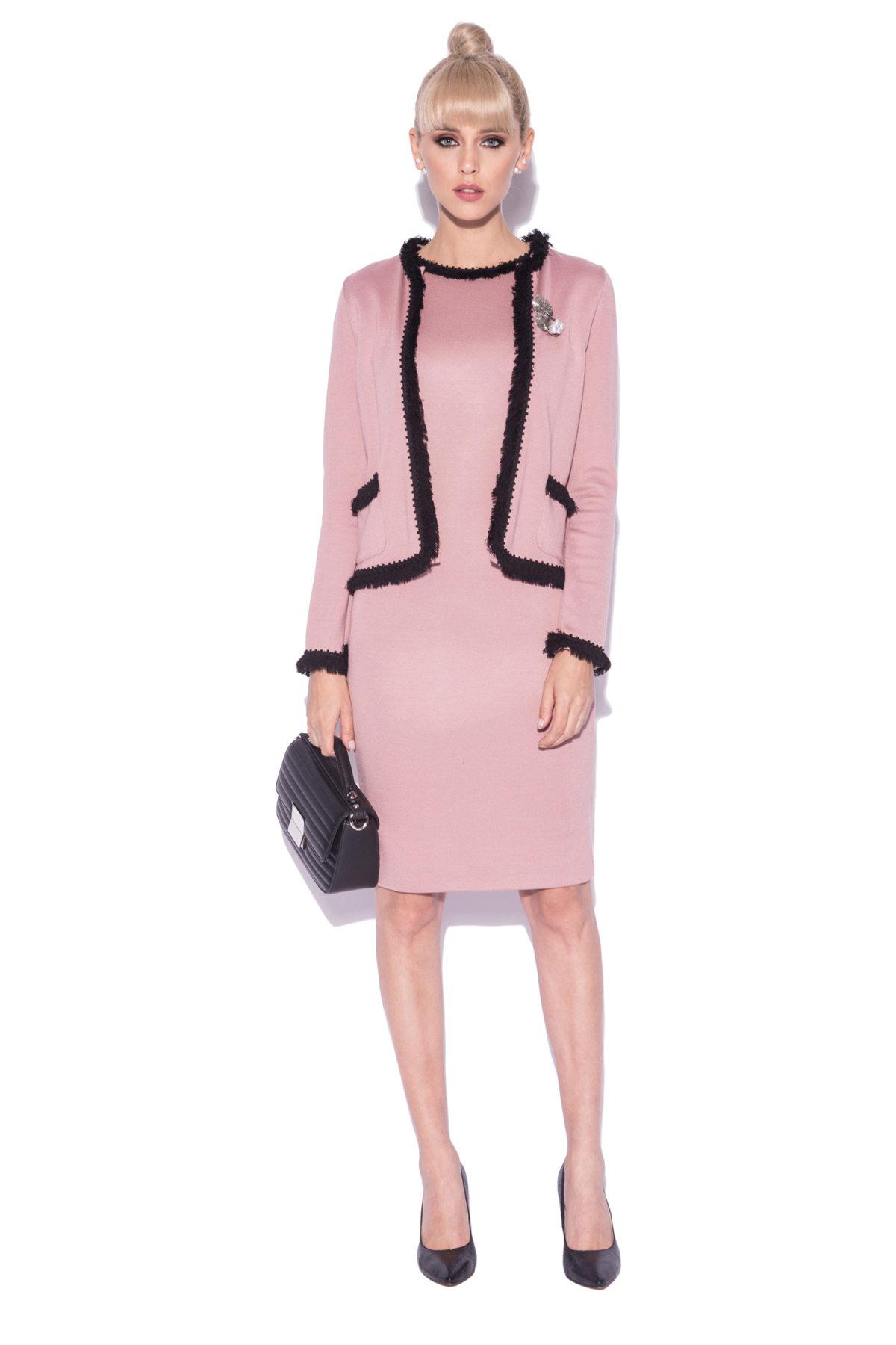 Jacheta eleganta in culori contrastante Roz