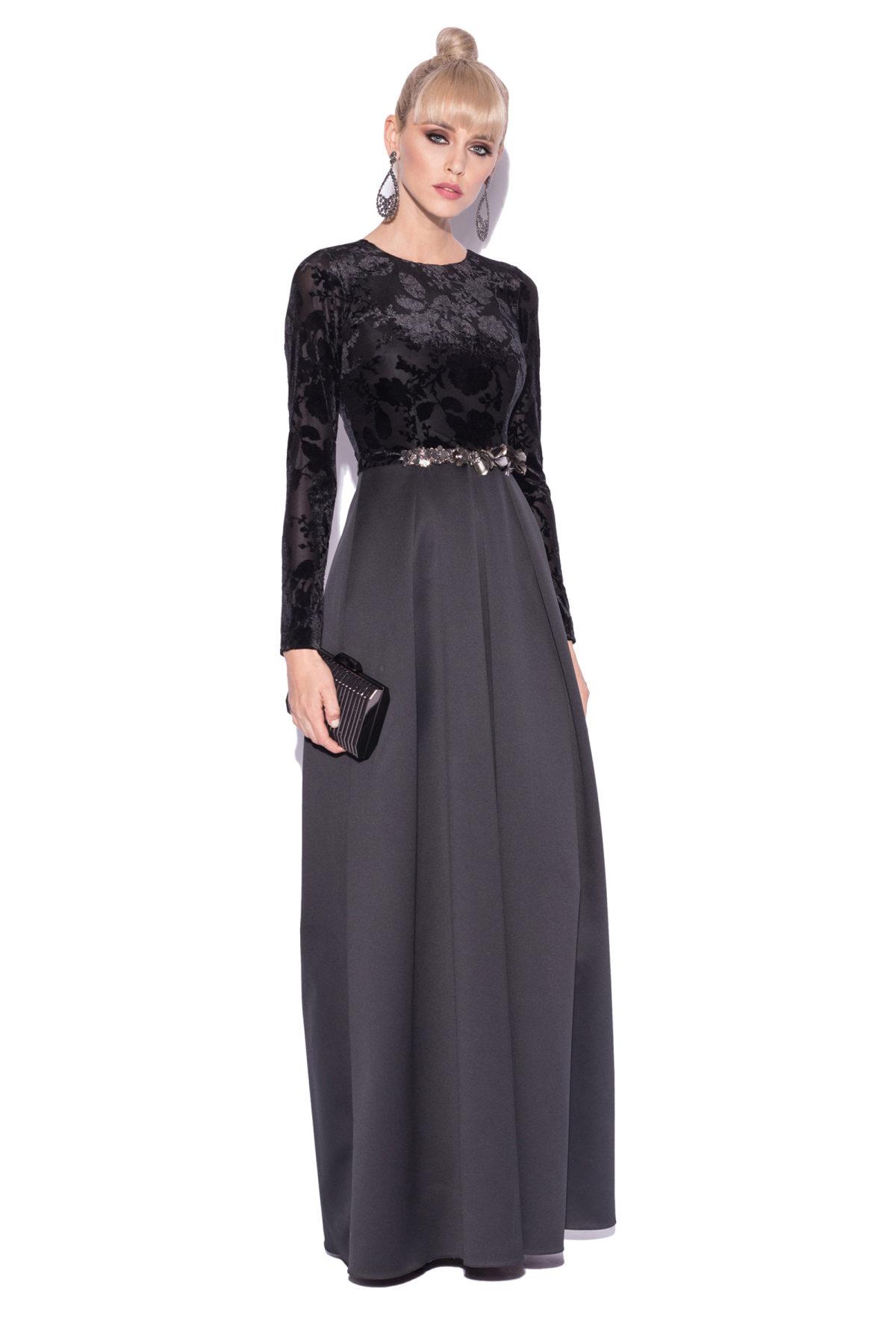Rochie eleganta cu detaliu stralucitor in talie Negru
