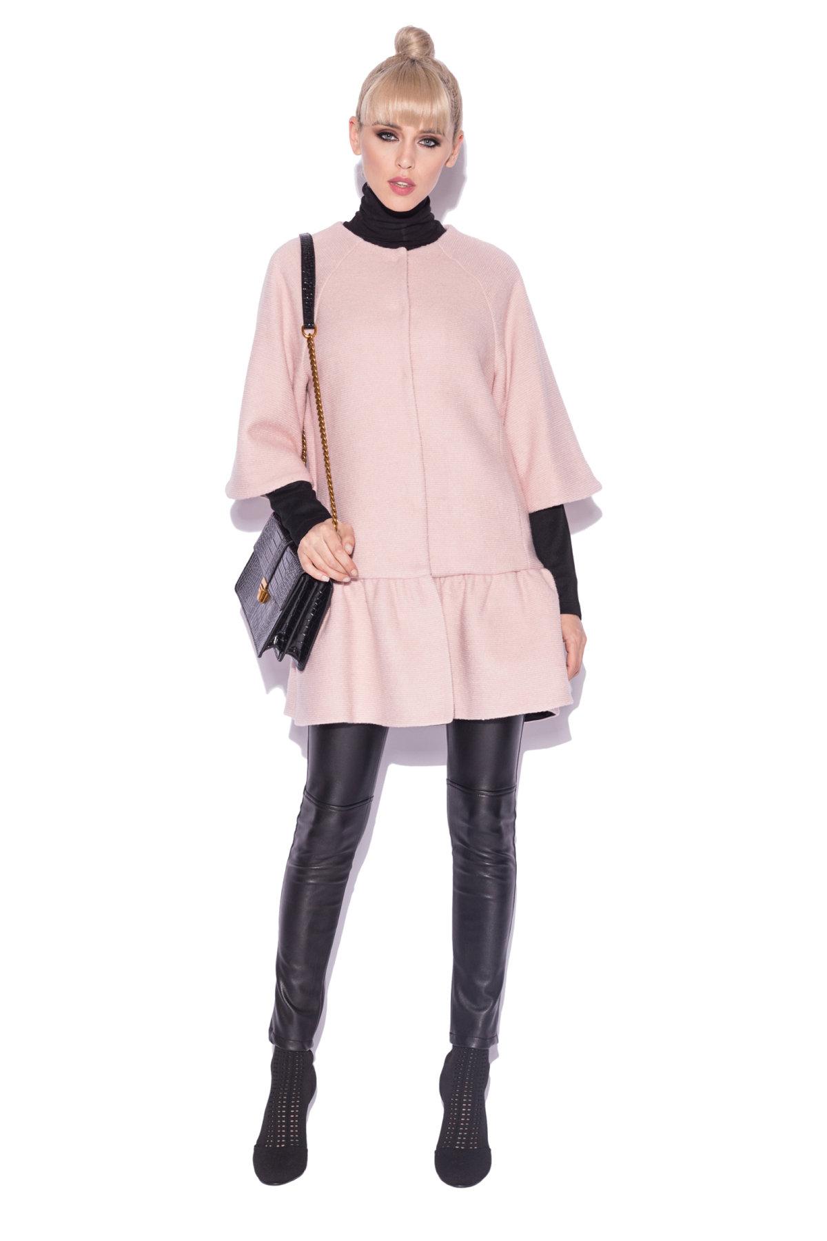 Palton elegant in culori contrastante Roz