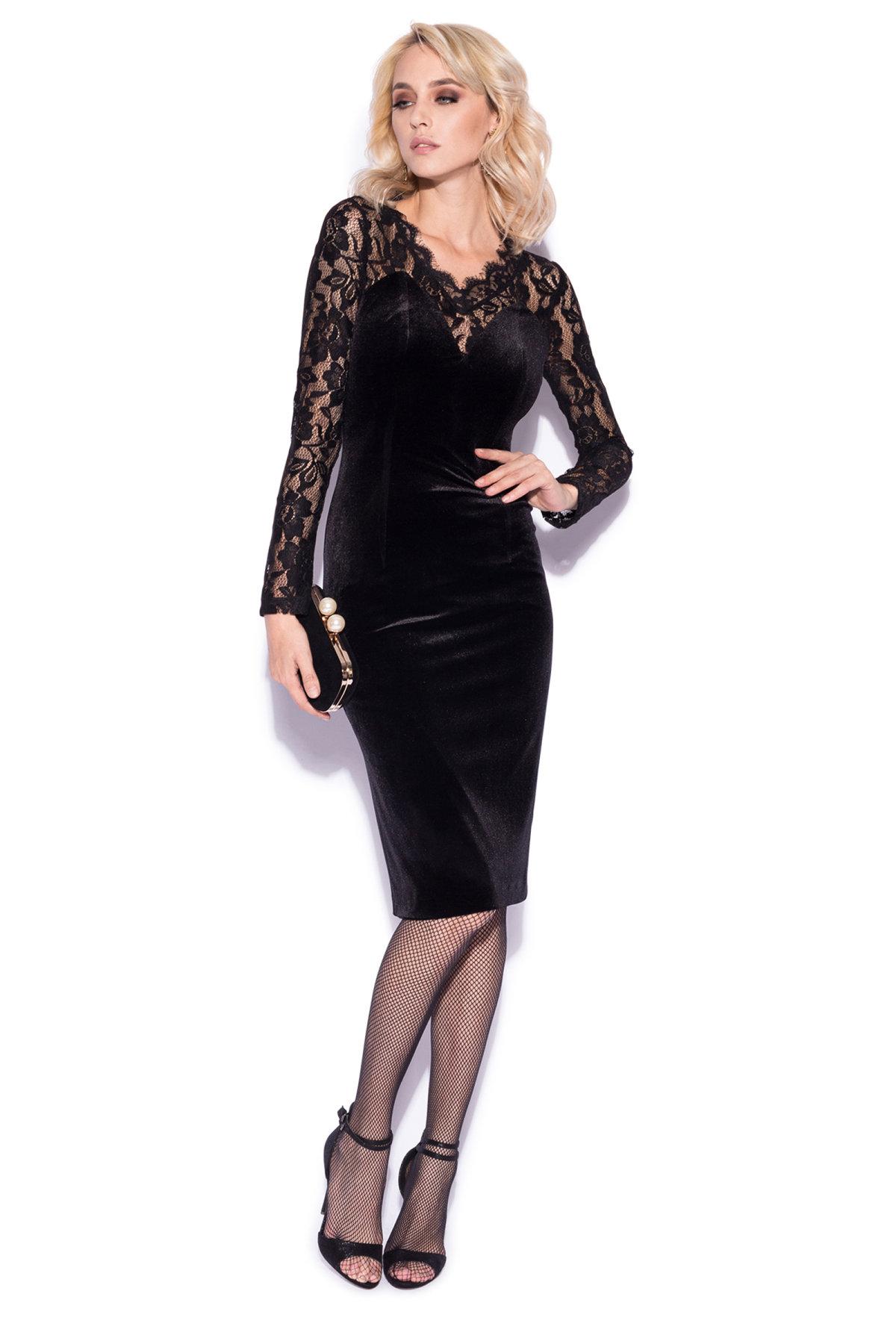 Rochie eleganta cu detalii din dantela delicata Negru