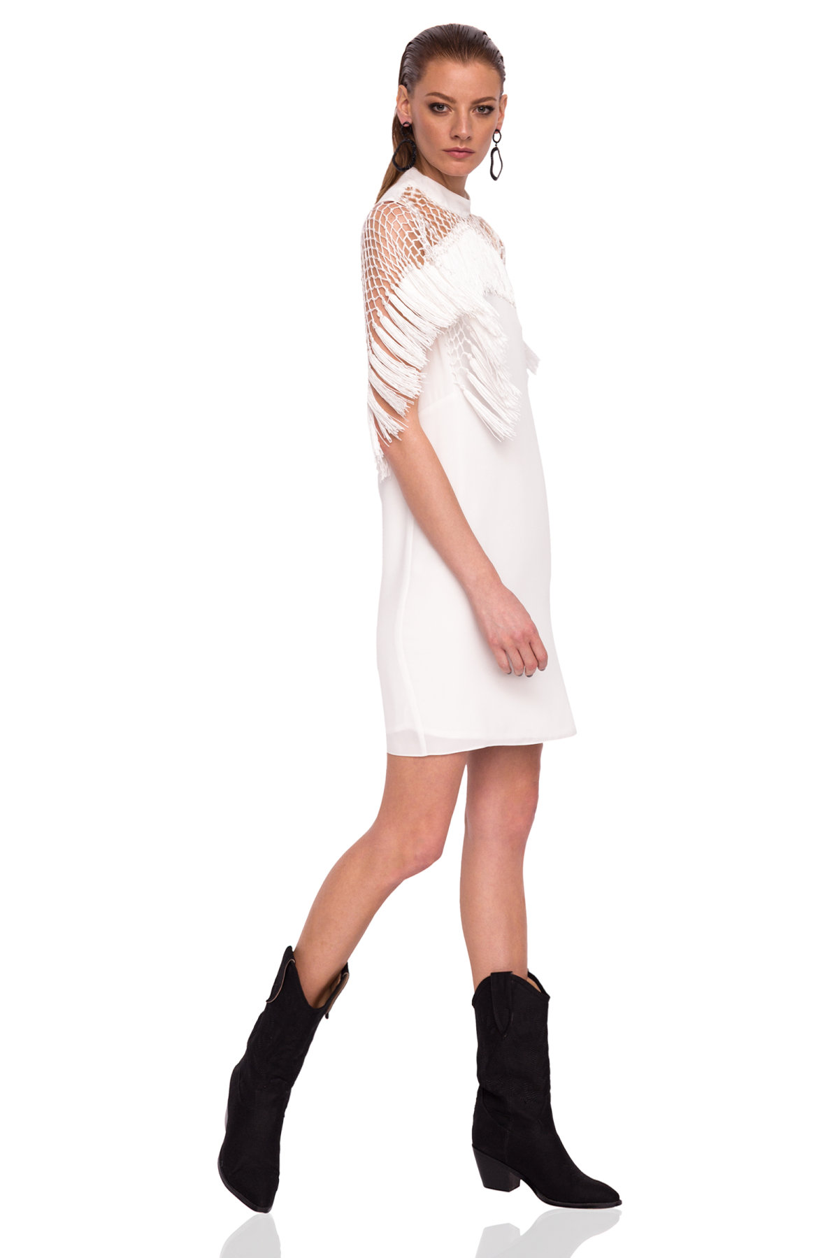 Rochie eleganta cu ciucuri Crem