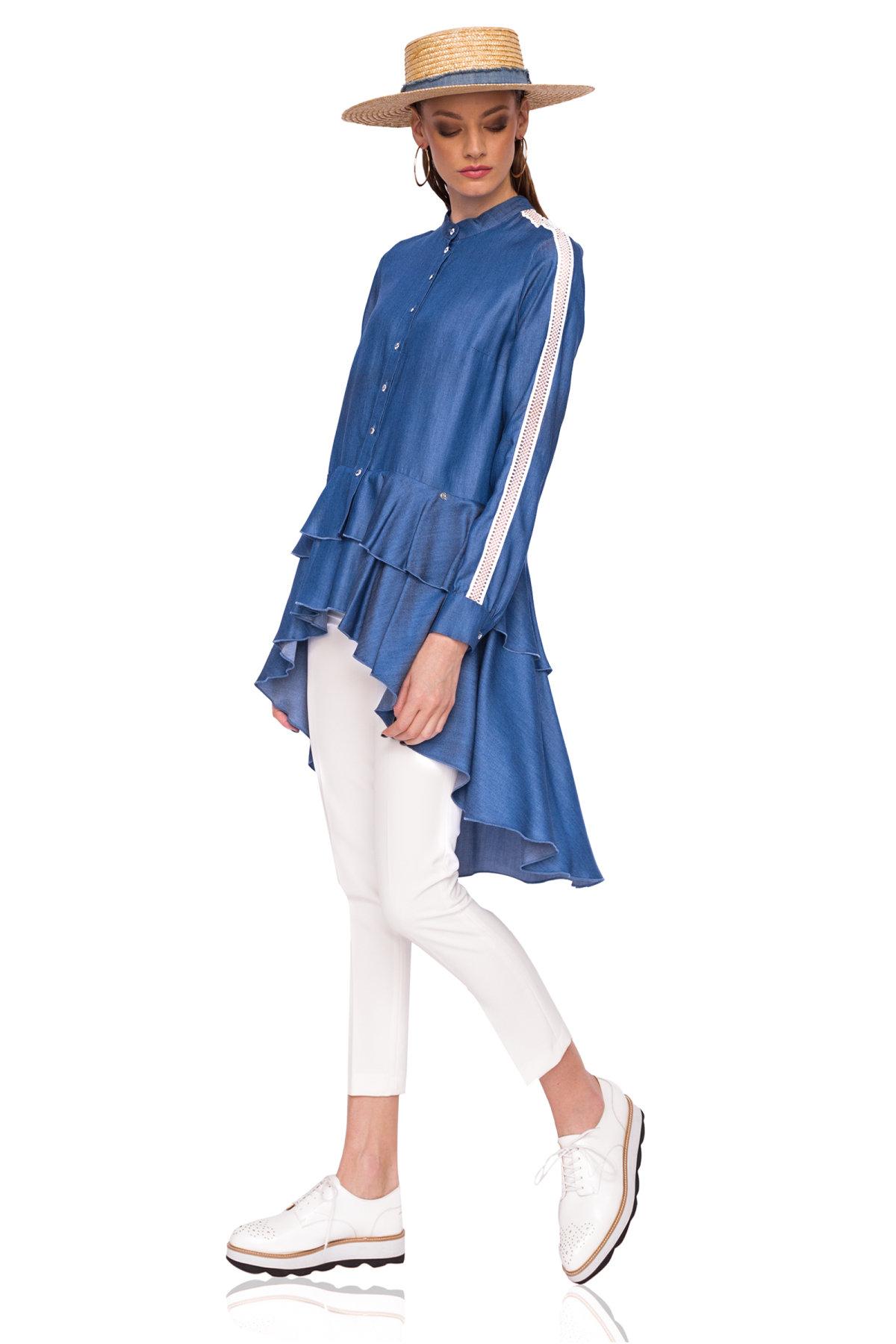 Bluza din denim asimetrica Albastru