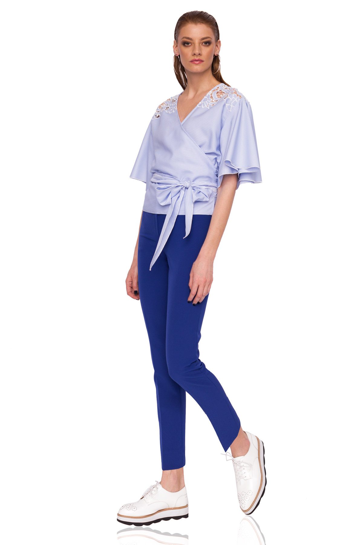 Pantaloni slim casual Albastru electric