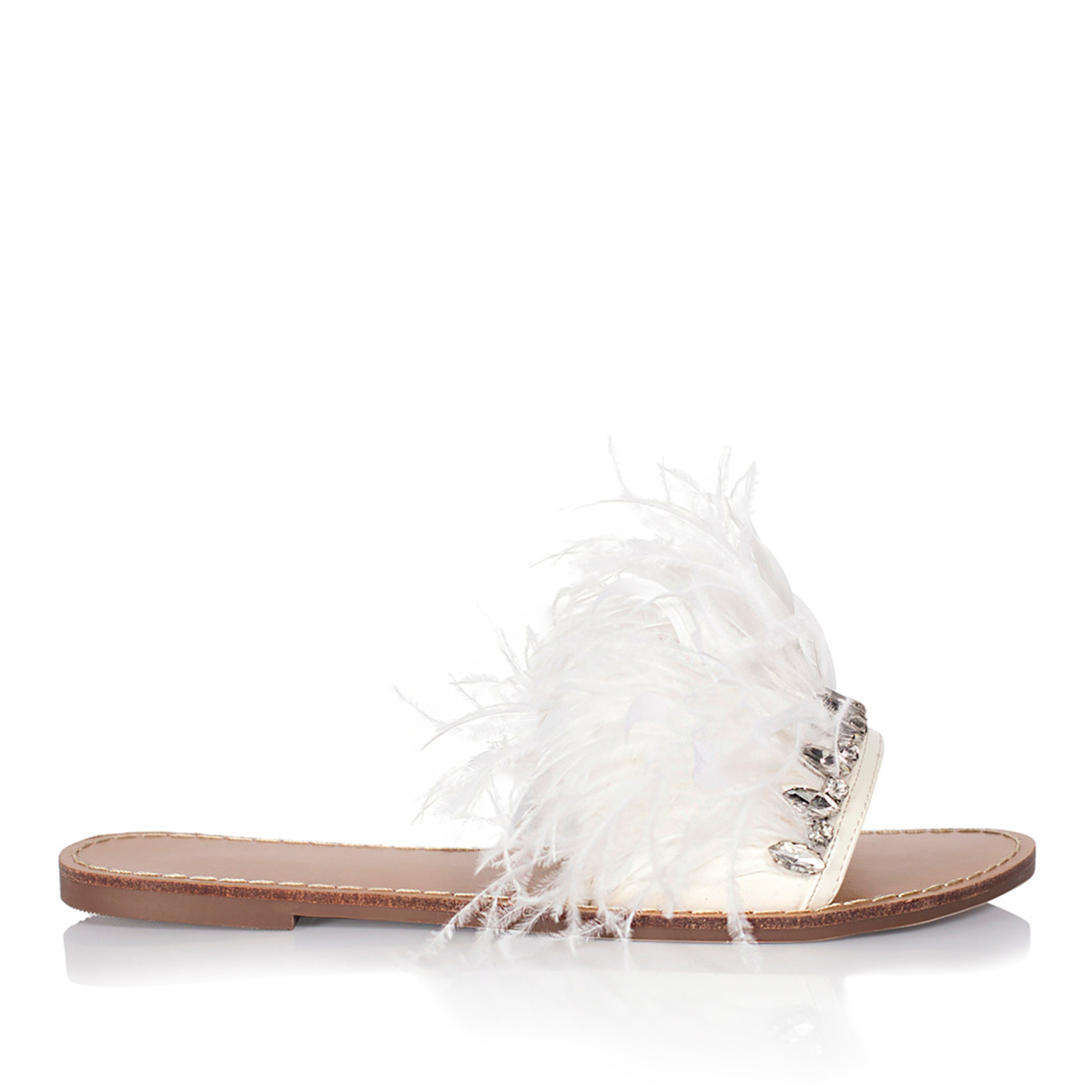 Papuci cu detalii din pene Alb
