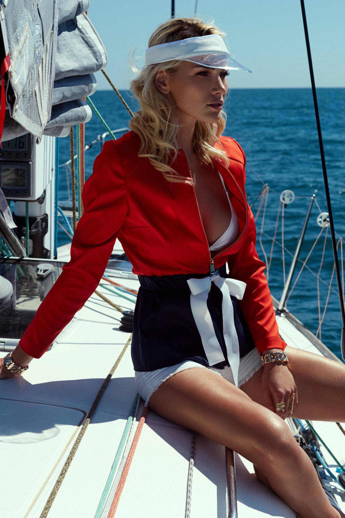 Jacheta casual in culori contrastante Rosu