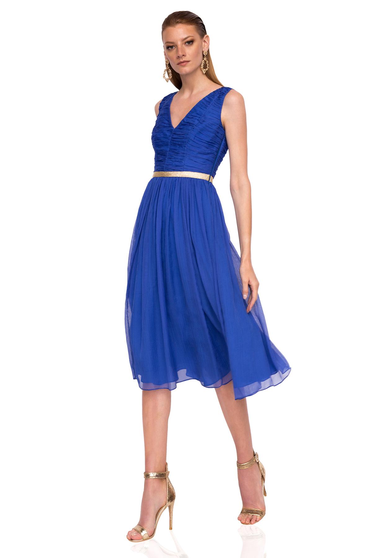 Rochie midi cu detaliu in talie Albastru