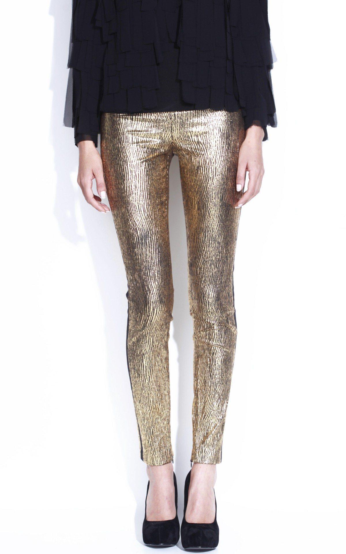 Pantaloni conici metalici Auriu