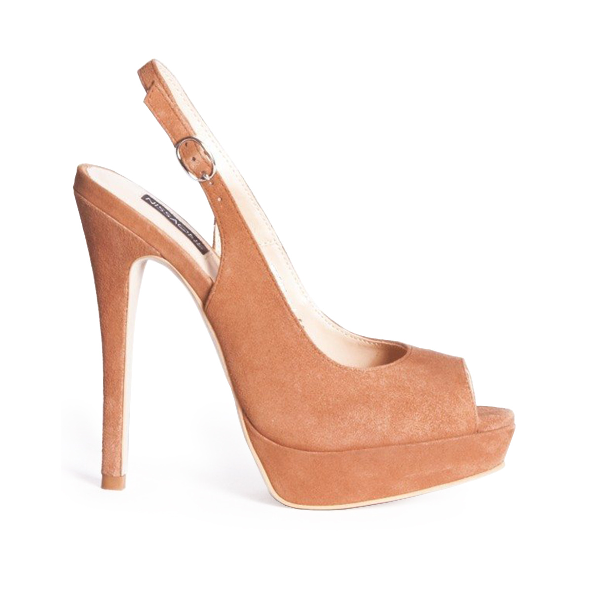 Sandale de seara cu varf decupat si toc inalt Camel