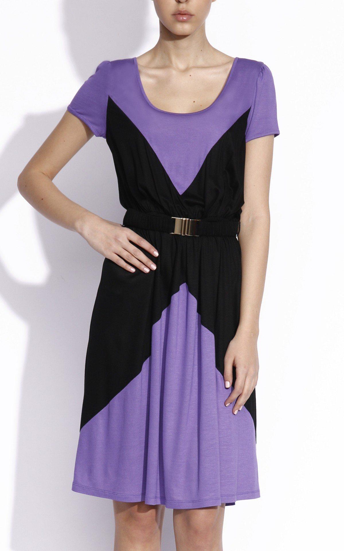 Rochie ampla realizata din tricot Mov/Negru