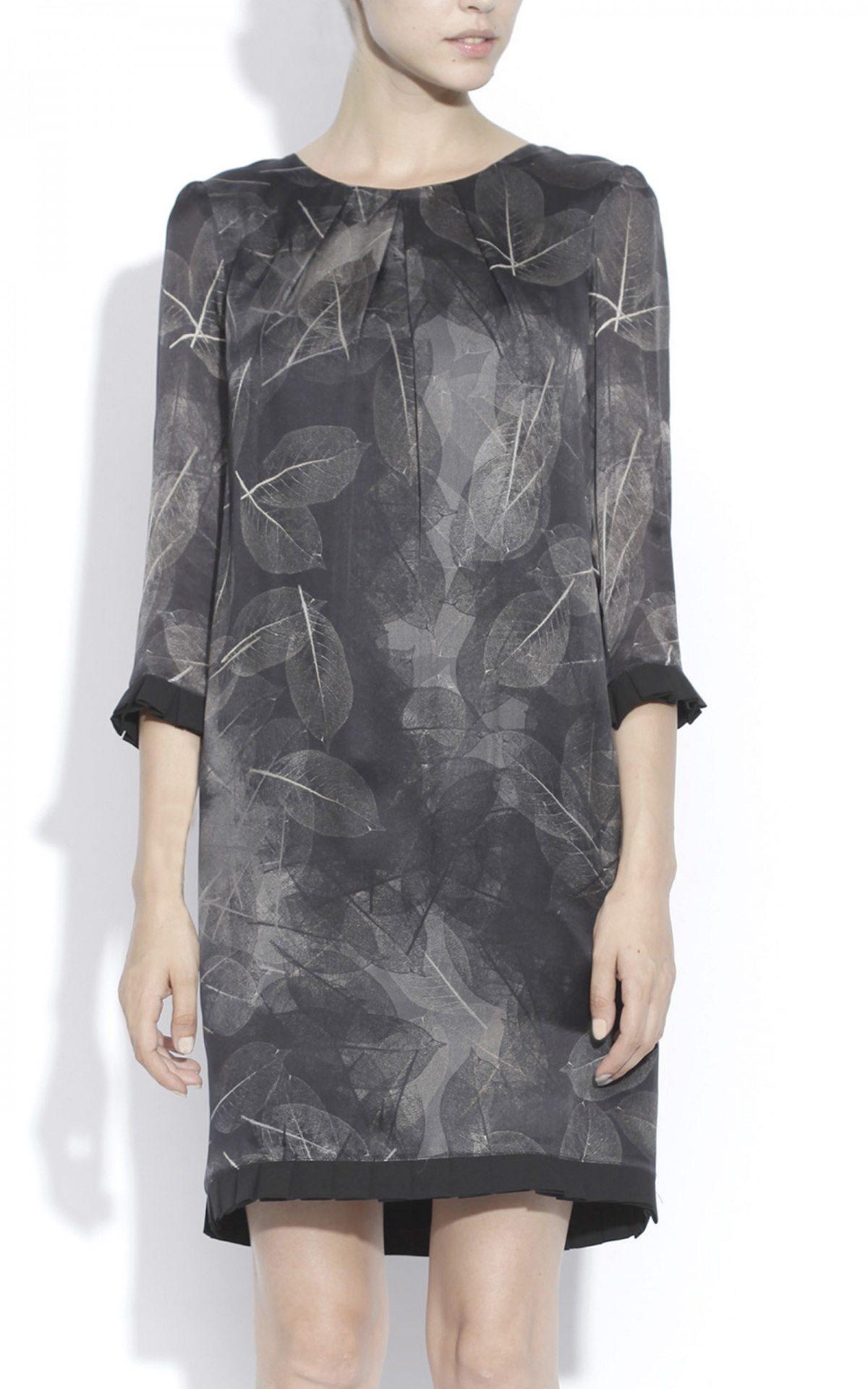 Rochie midi cu print abstract Imprimat/Gri