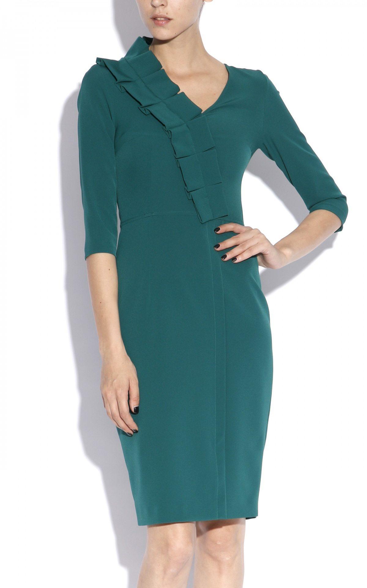 Rochie conica realizata din stofa cu elastan Verde