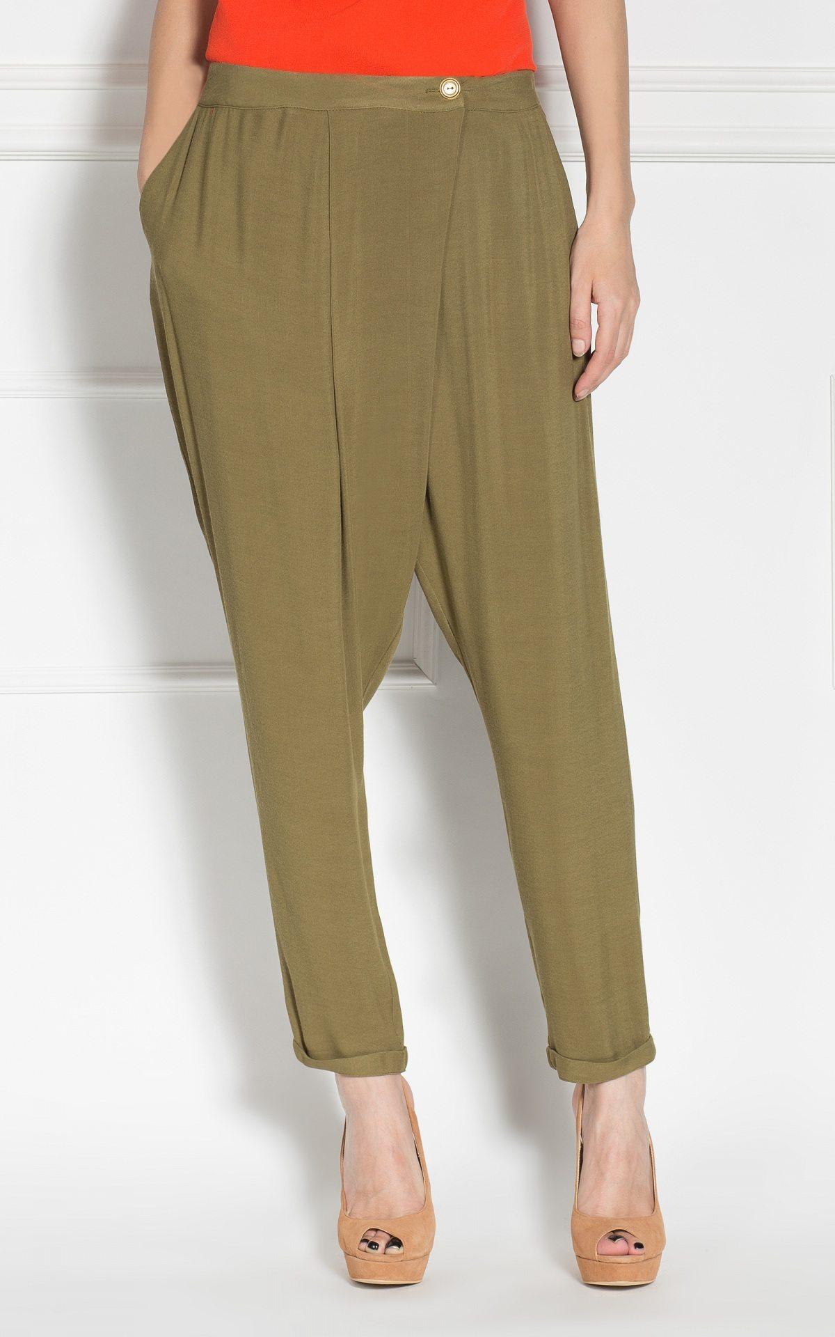 Pantaloni conici petrecuti Kaki