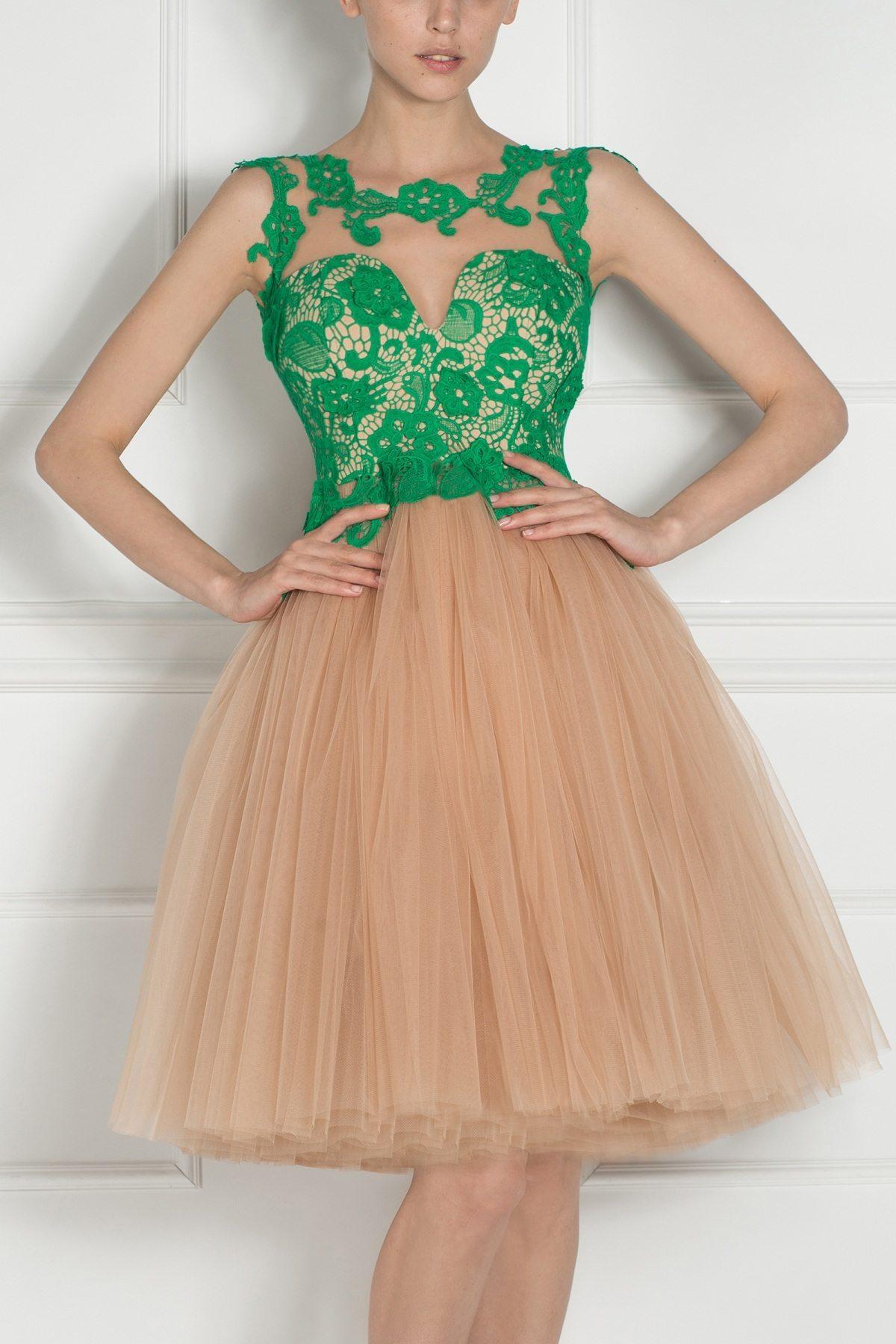 Rochie de seara cu bust din dantela Verde