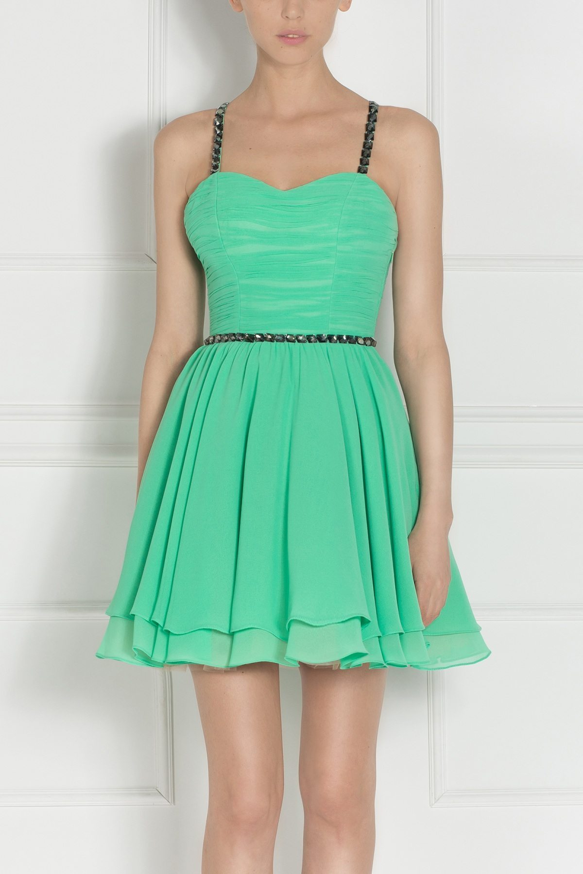 Rochie mini verde cu cristale aplicate Turcoaz