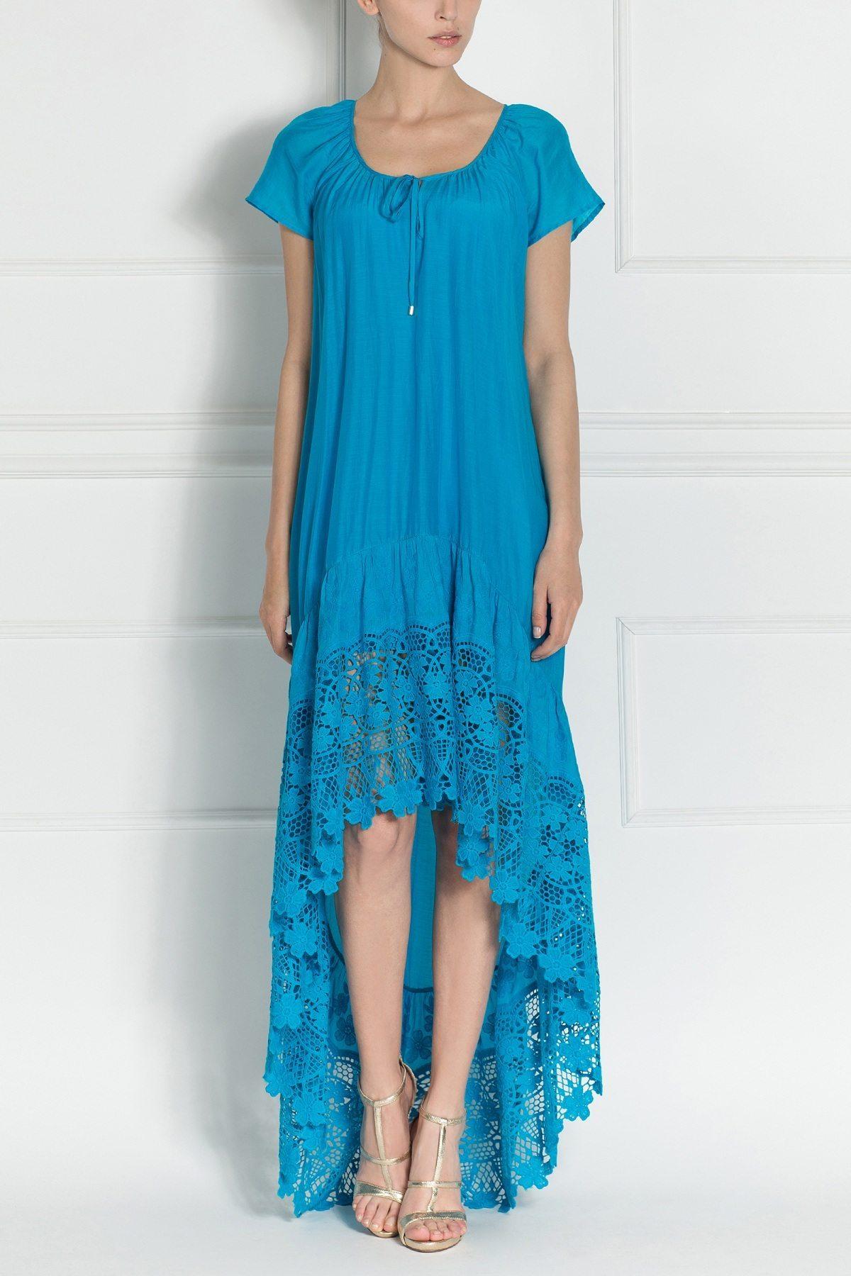Rochie maxi cu bretele delicate Albastru
