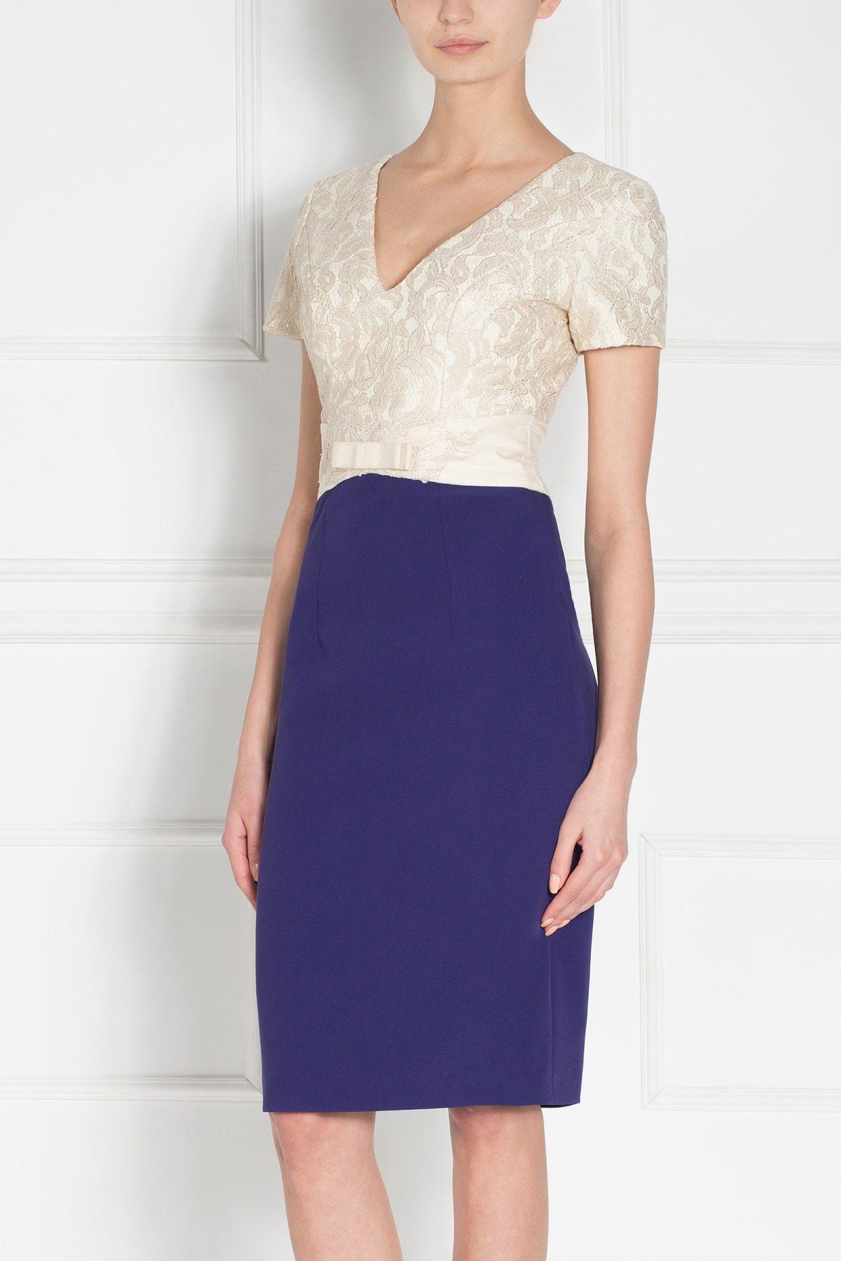 Rochie de seara cu maneci scurte Bleumarin/Auriu