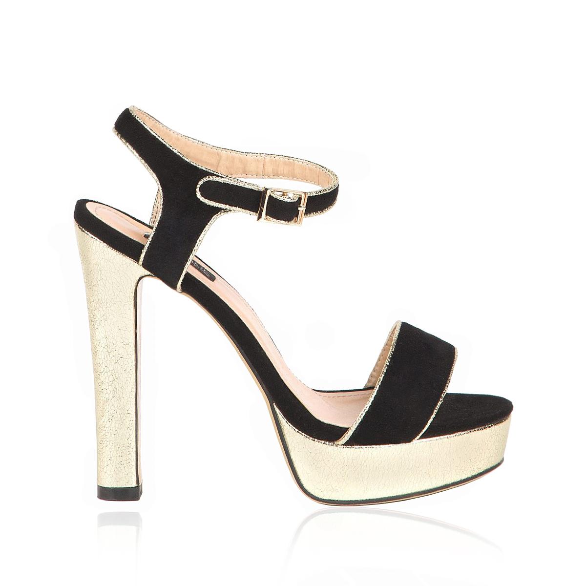 Sandale cu platforma aurie Auriu/Negru