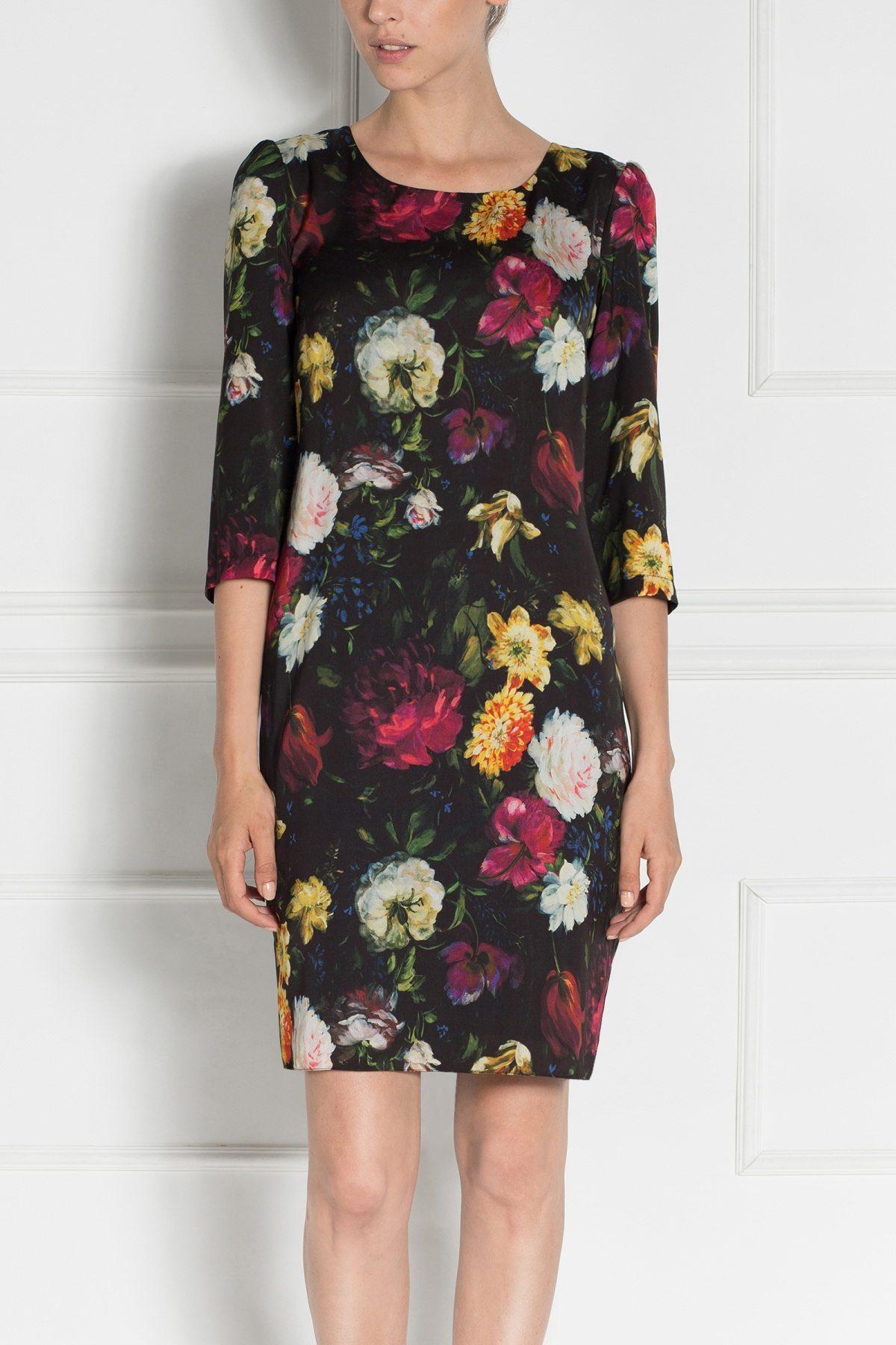 Rochie midi cu imprimeu floral Imprimat/Negru