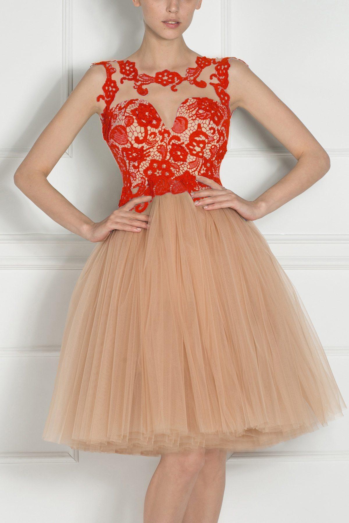 Rochie de seara cu bust din dantela Rosu
